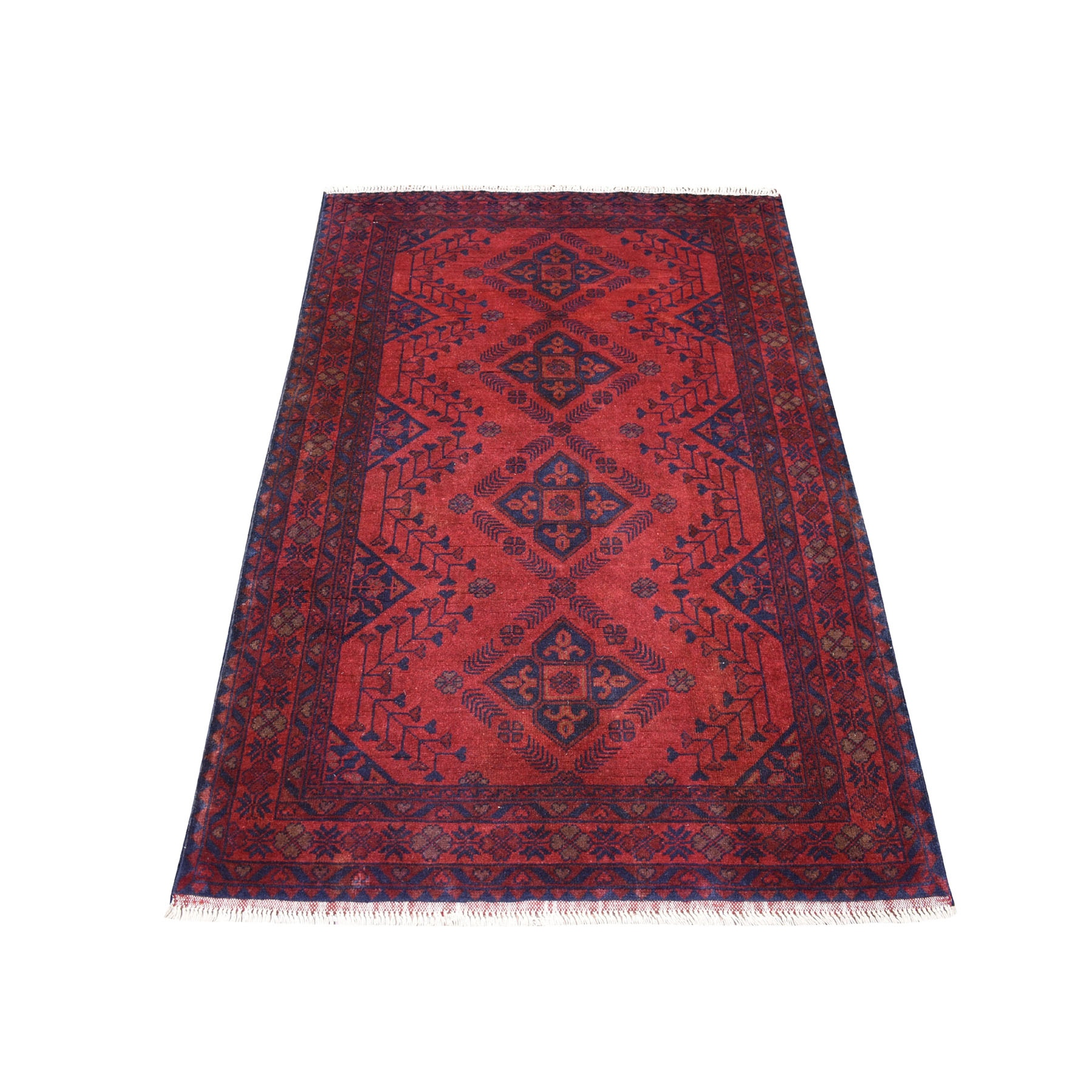 "3'4""x5' Deep and Saturated Red Geometric Design Afghan Andkhoy Pure Wool Hand-Knotted Oriental Rug"