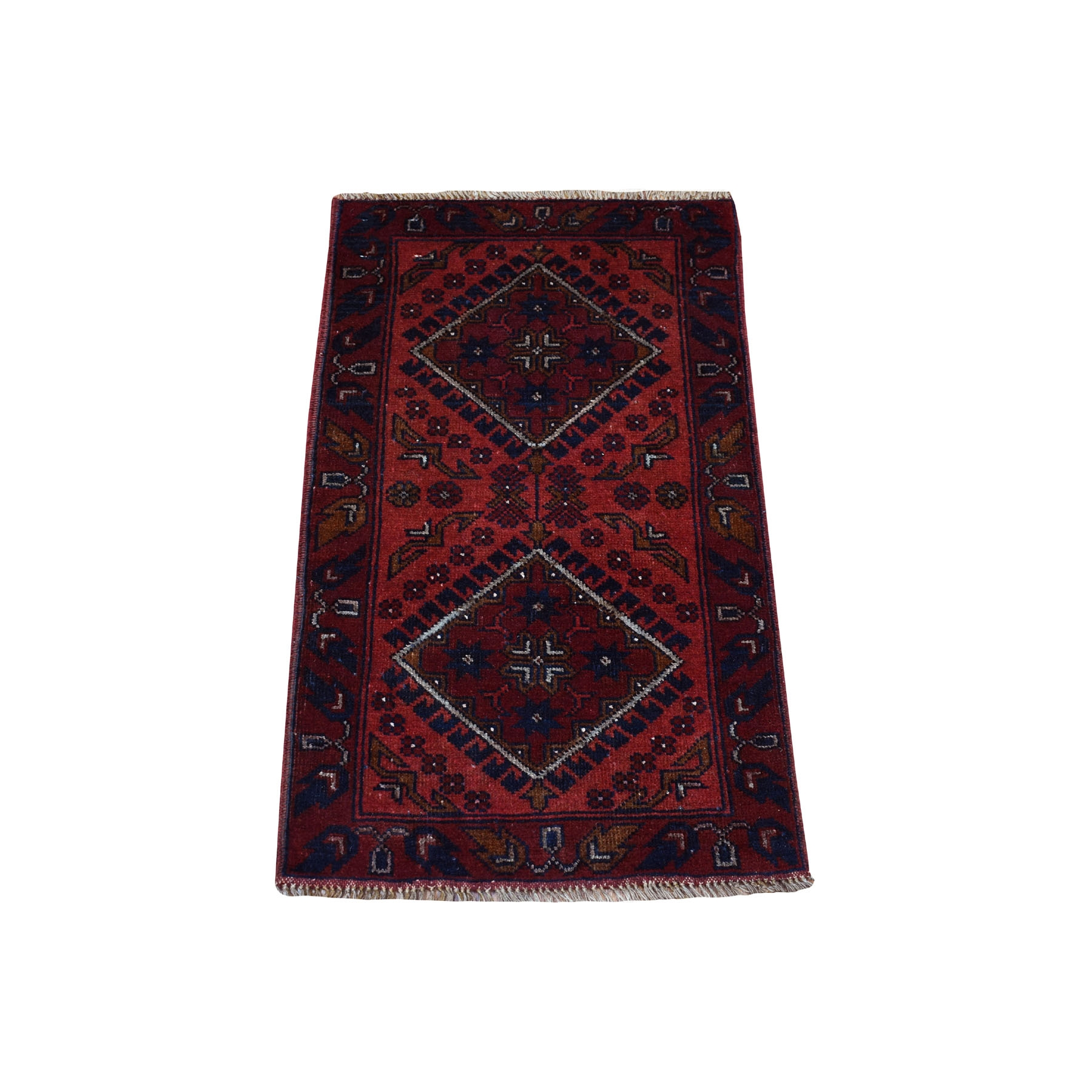 "1'9""X3'2"" Deep And Saturated Red Geometric Design Afghan Andkhoy Pure Wool Hand-Knotted Oriental Rug moaec89a"