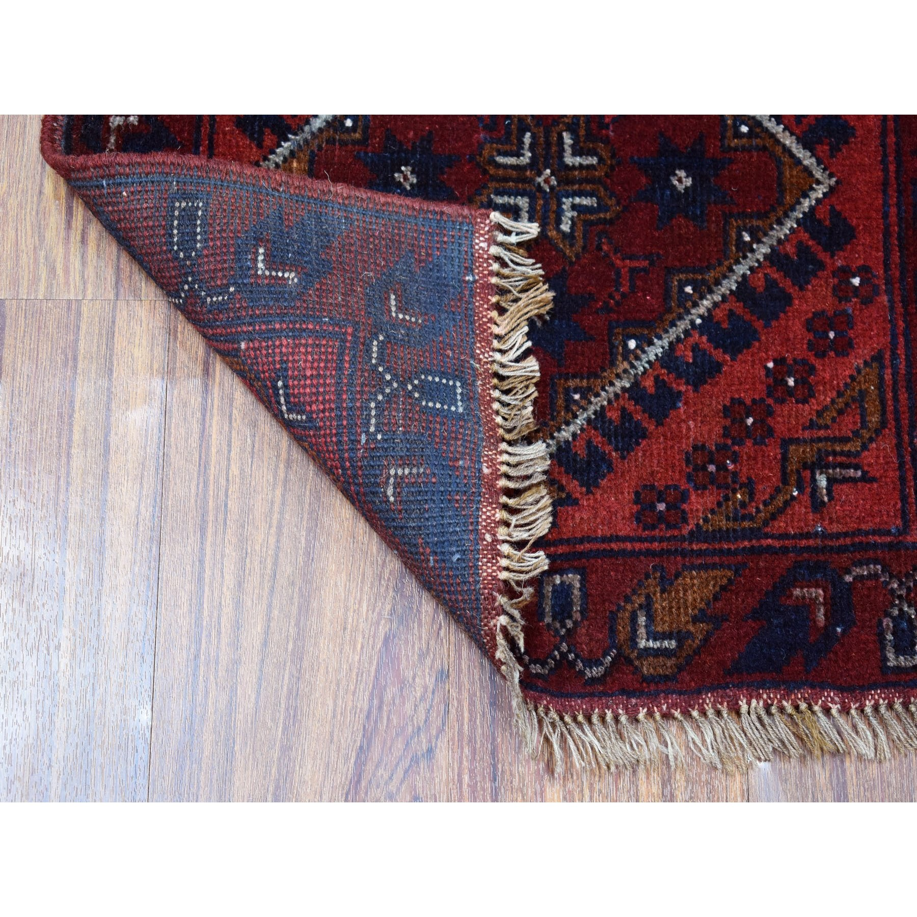 "1'9""x3'2"" Deep and Saturated Red Geometric Design Afghan Andkhoy Pure Wool Hand-Knotted Oriental Rug"