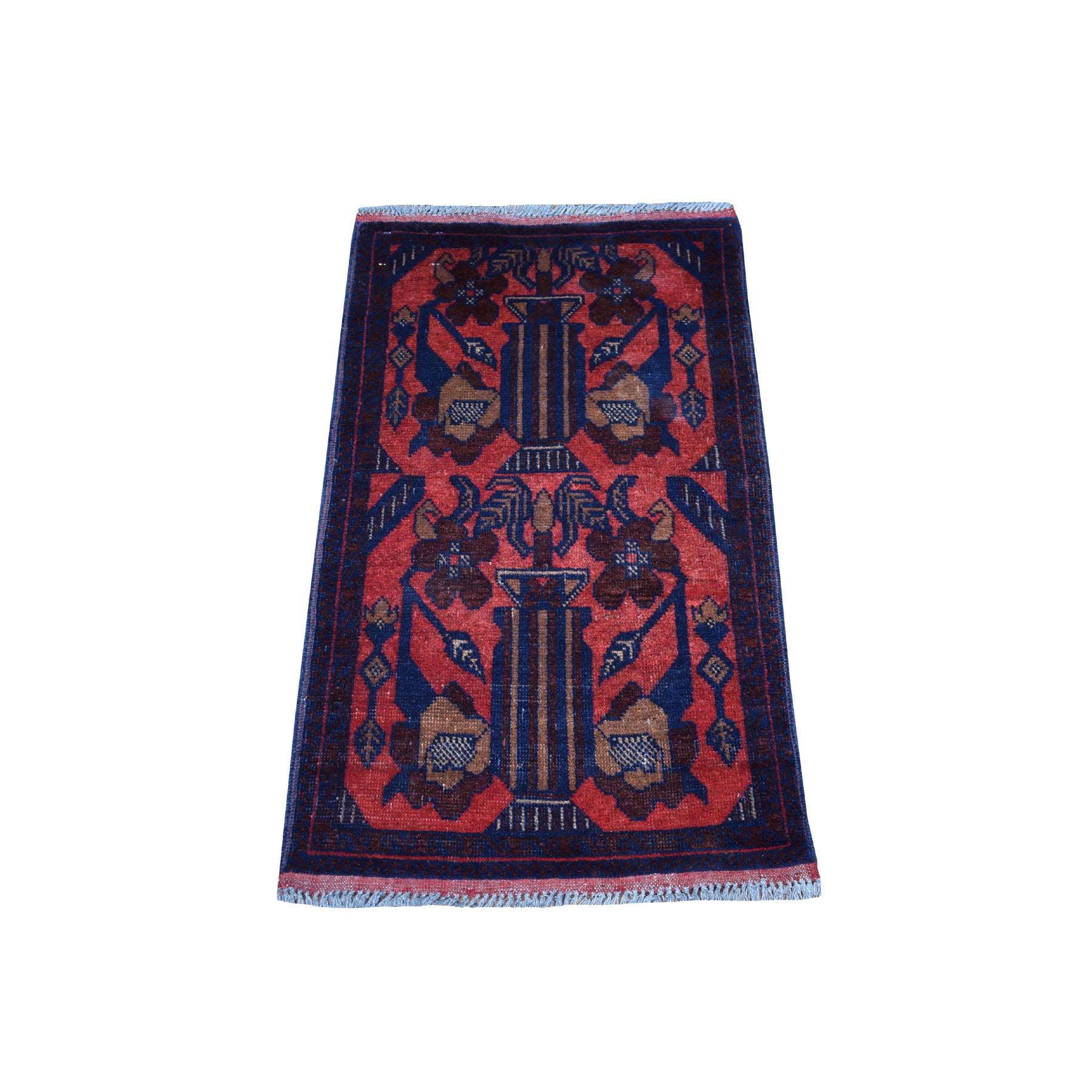 "1'8""X3'3"" Deep And Saturated Red Tribal Design Afghan Andkhoy Pure Wool Hand-Knotted Oriental Rug moaec89b"