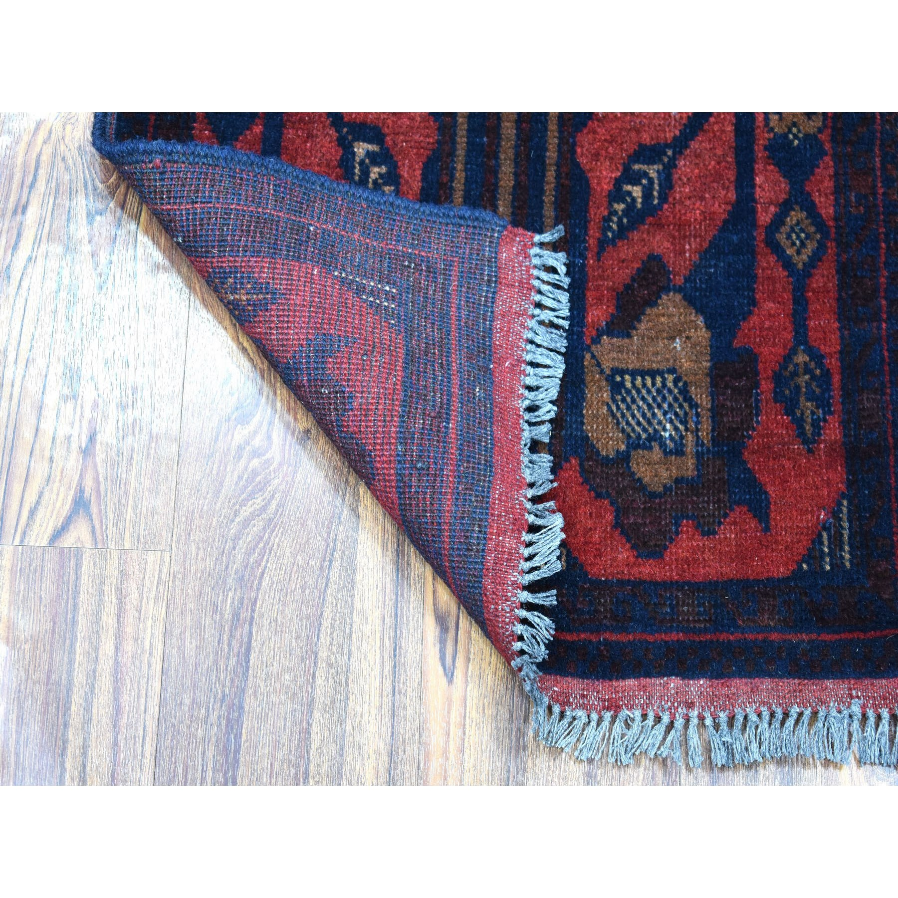"""1'8""""x3'3"""" Deep and Saturated Red Tribal Design Afghan Andkhoy Pure Wool Hand-Knotted Oriental Rug"""