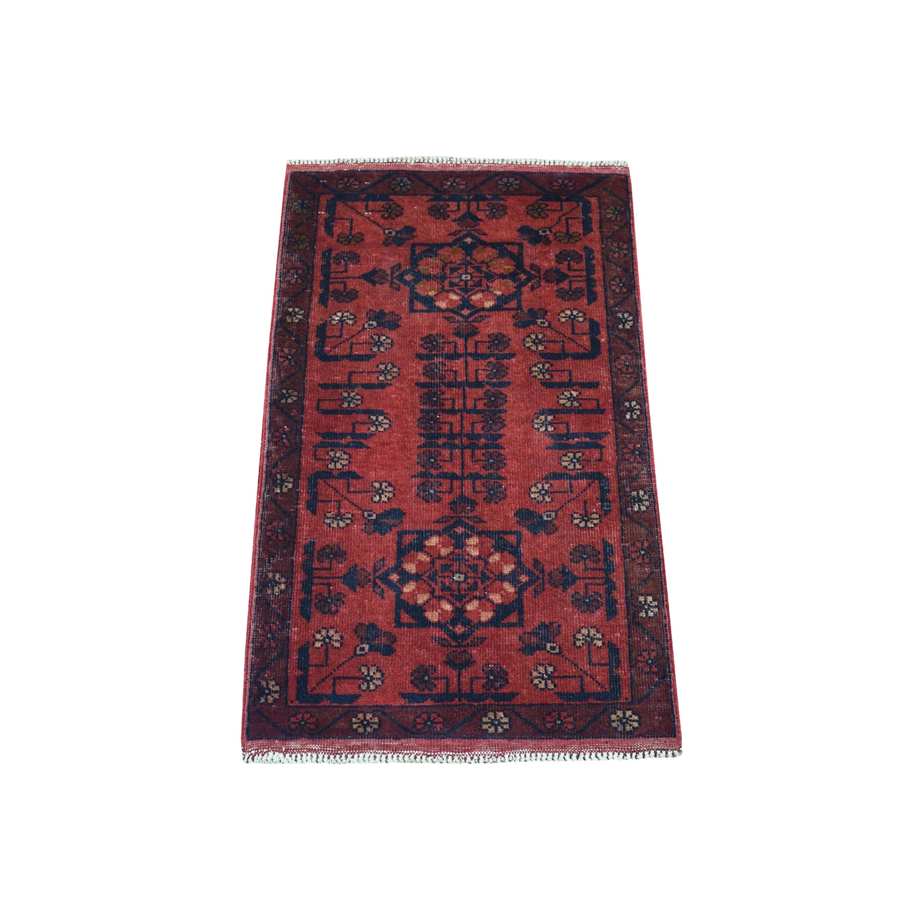 "1'9""X3' Deep And Saturated Red Geometric Design Afghan Andkhoy Pure Wool Hand-Knotted Oriental Rug moaec89e"