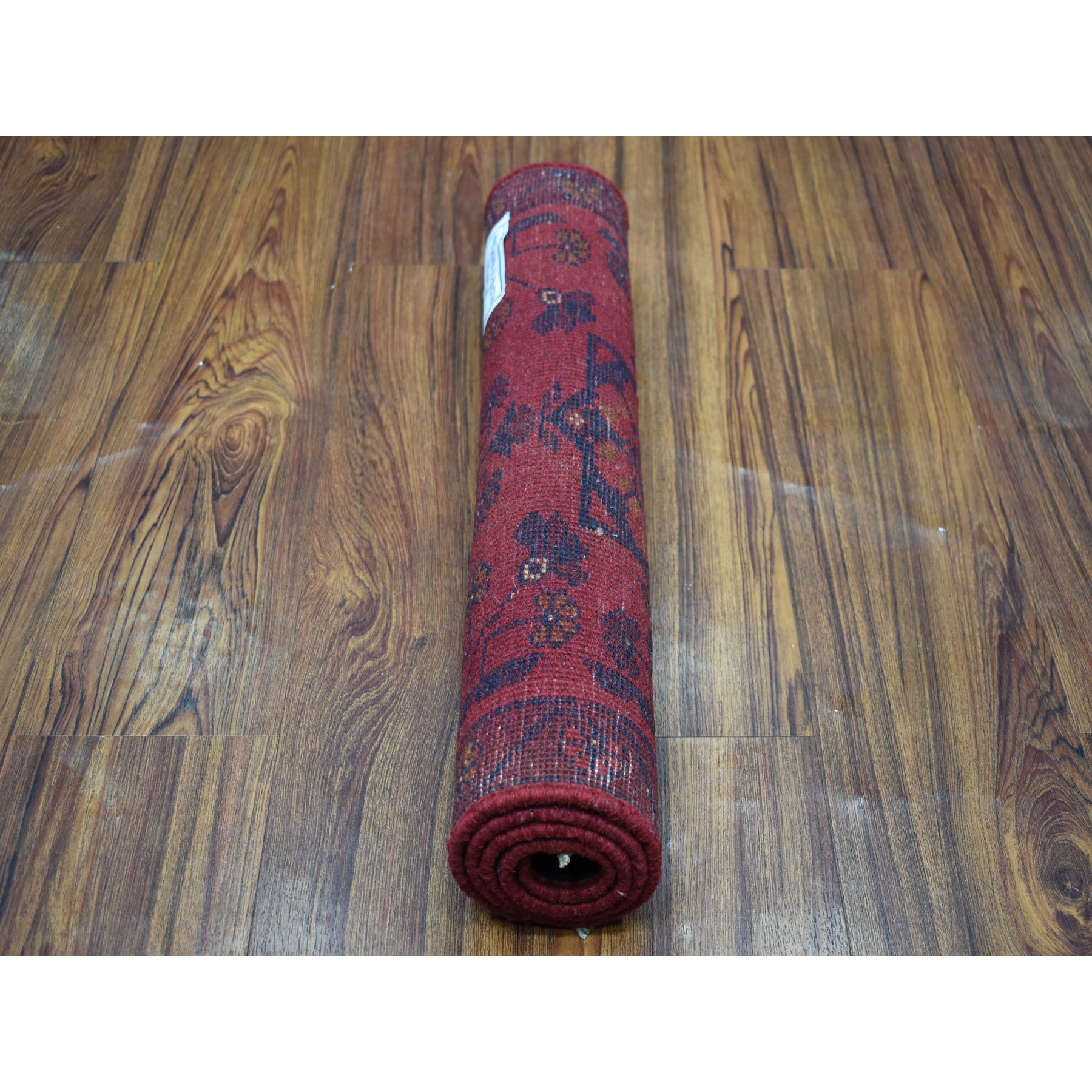 """1'9""""x3' Deep and Saturated Red Geometric Design Afghan Andkhoy Pure Wool Hand-Knotted Oriental Rug"""