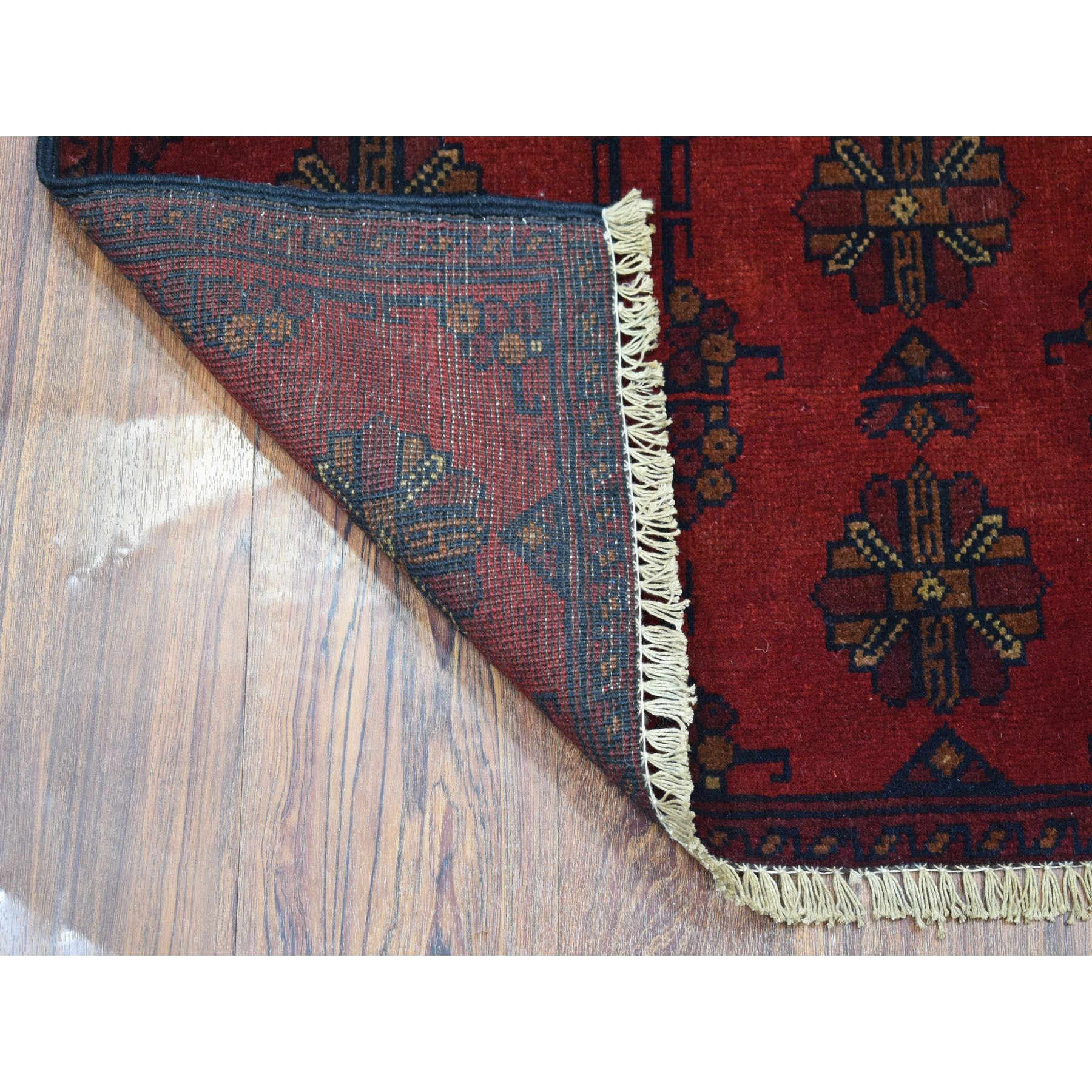 "2'x3'1"" Deep and Saturated Red Tribal Design Afghan Andkhoy Pure Wool Hand-Knotted Oriental Rug"