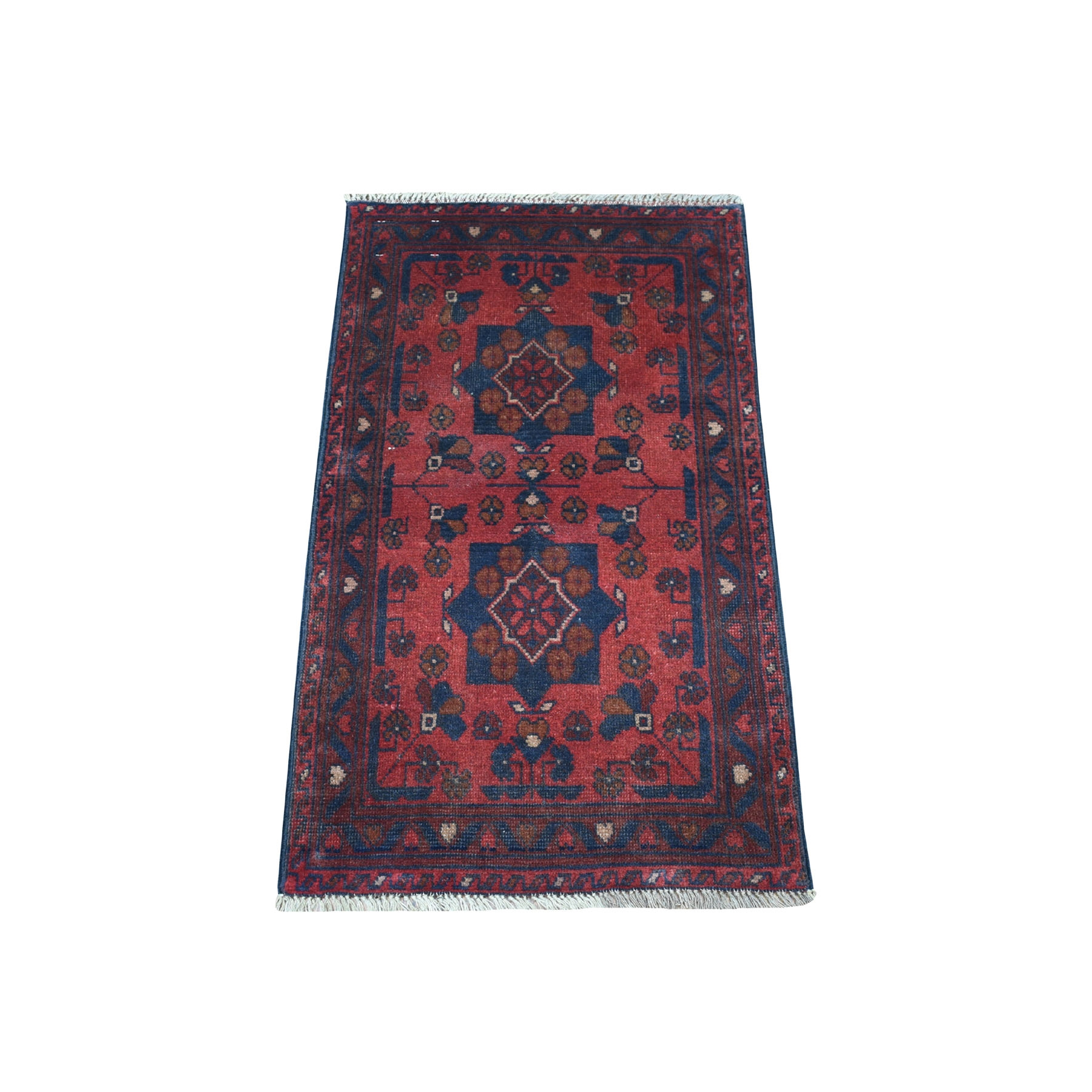 "1'8""X3'3"" Deep And Saturated Red Geometric Design Afghan Andkhoy Pure Wool Hand-Knotted Oriental Rug moaec897"