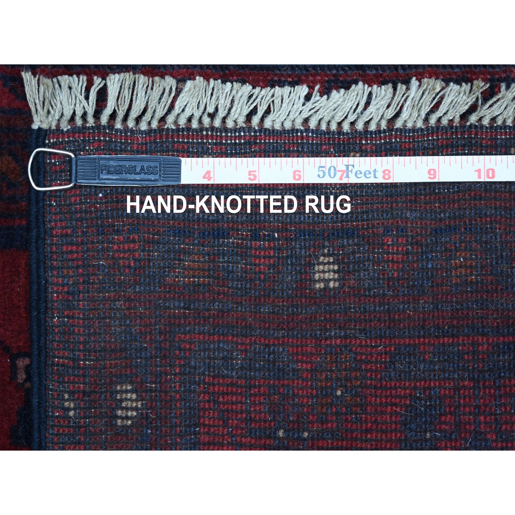 "1'8""x3'3"" Deep and Saturated Red Geometric Design Afghan Andkhoy Pure Wool Hand-Knotted Oriental Rug"
