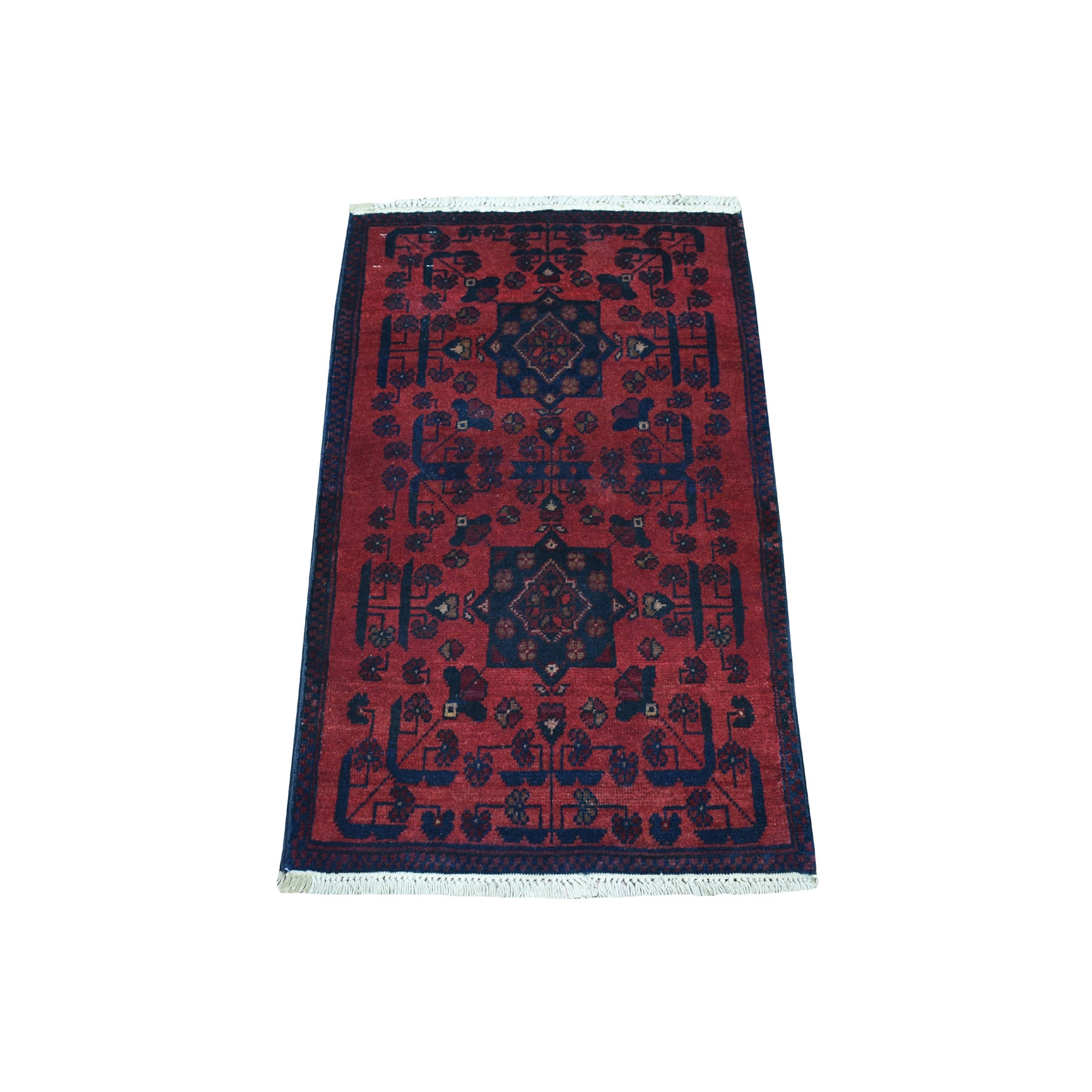 "1'10""X3'2"" Deep And Saturated Red Geometric Design Afghan Andkhoy Pure Wool Hand-Knotted Oriental Rug moaec898"