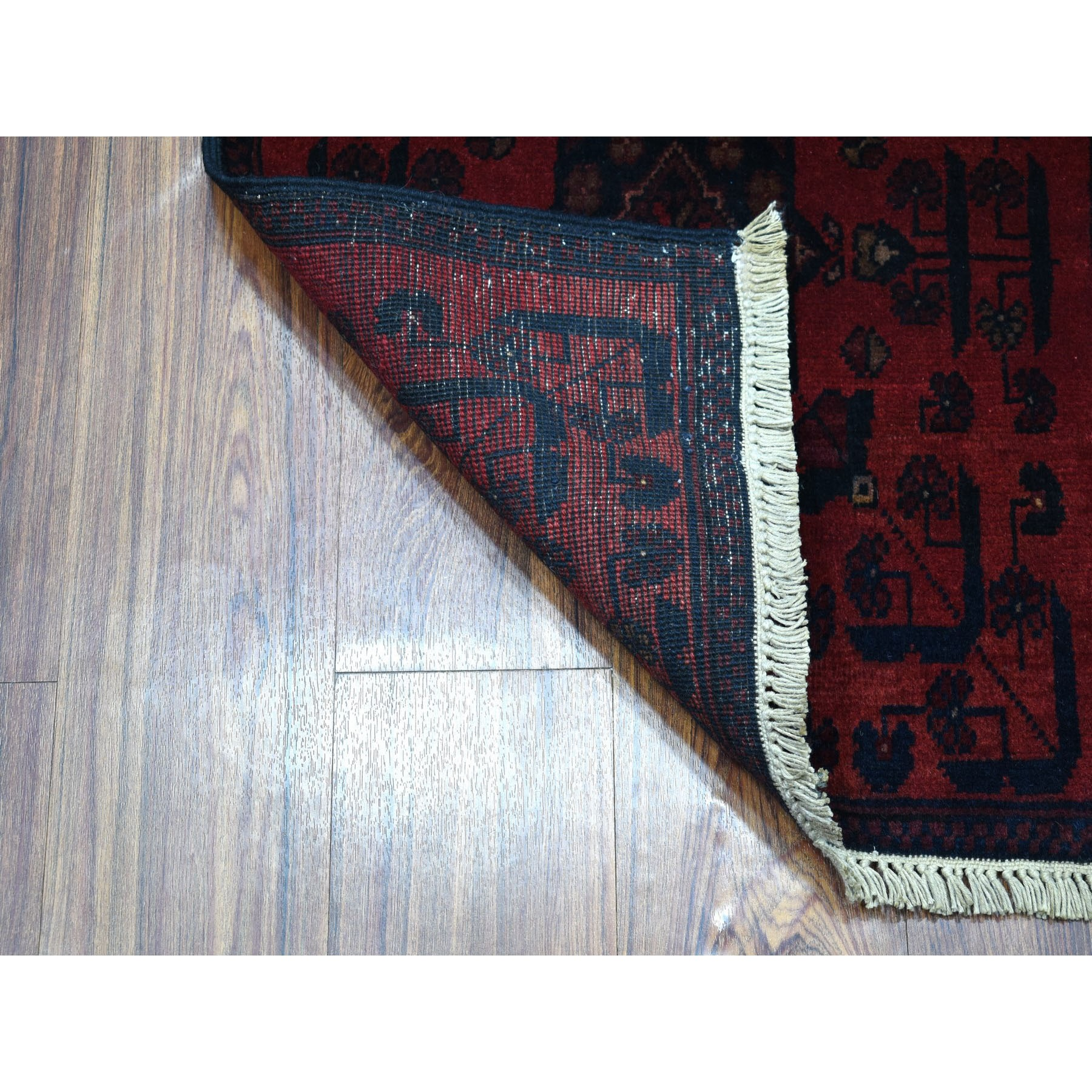 "1'10""x3'2"" Deep and Saturated Red Geometric Design Afghan Andkhoy Pure Wool Hand-Knotted Oriental Rug"