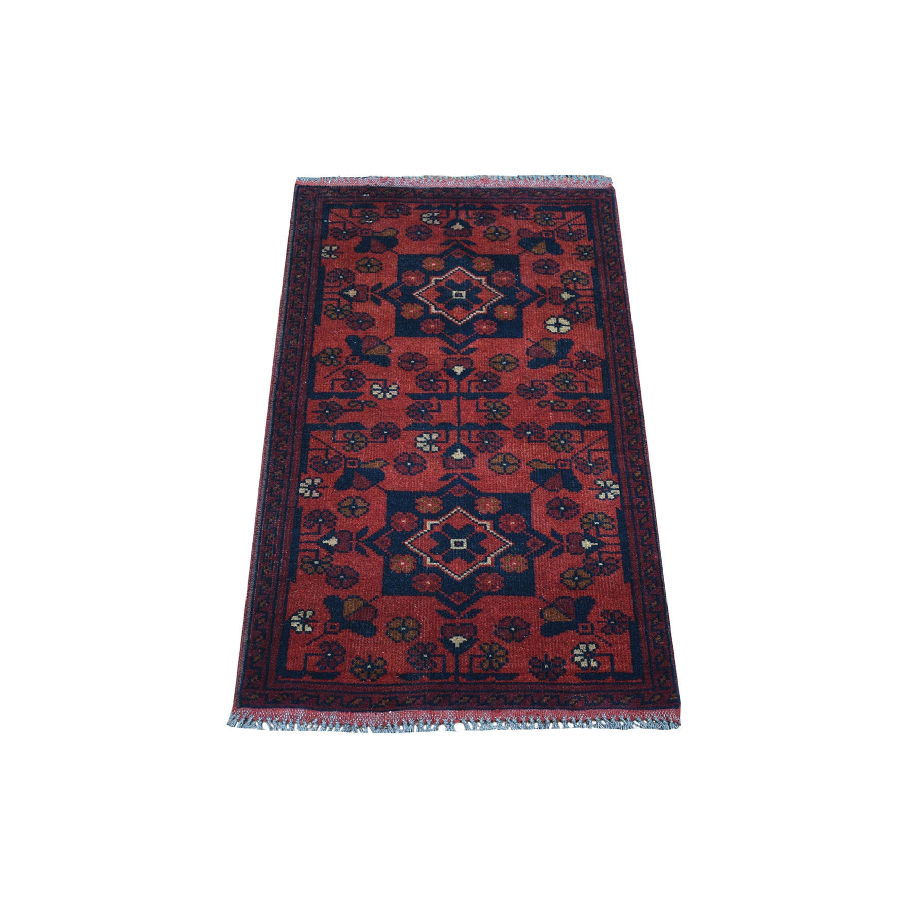 "1'9""X3'2"" Deep And Saturated Red Geometric Design Afghan Andkhoy Pure Wool Hand-Knotted Oriental Rug moaec900"