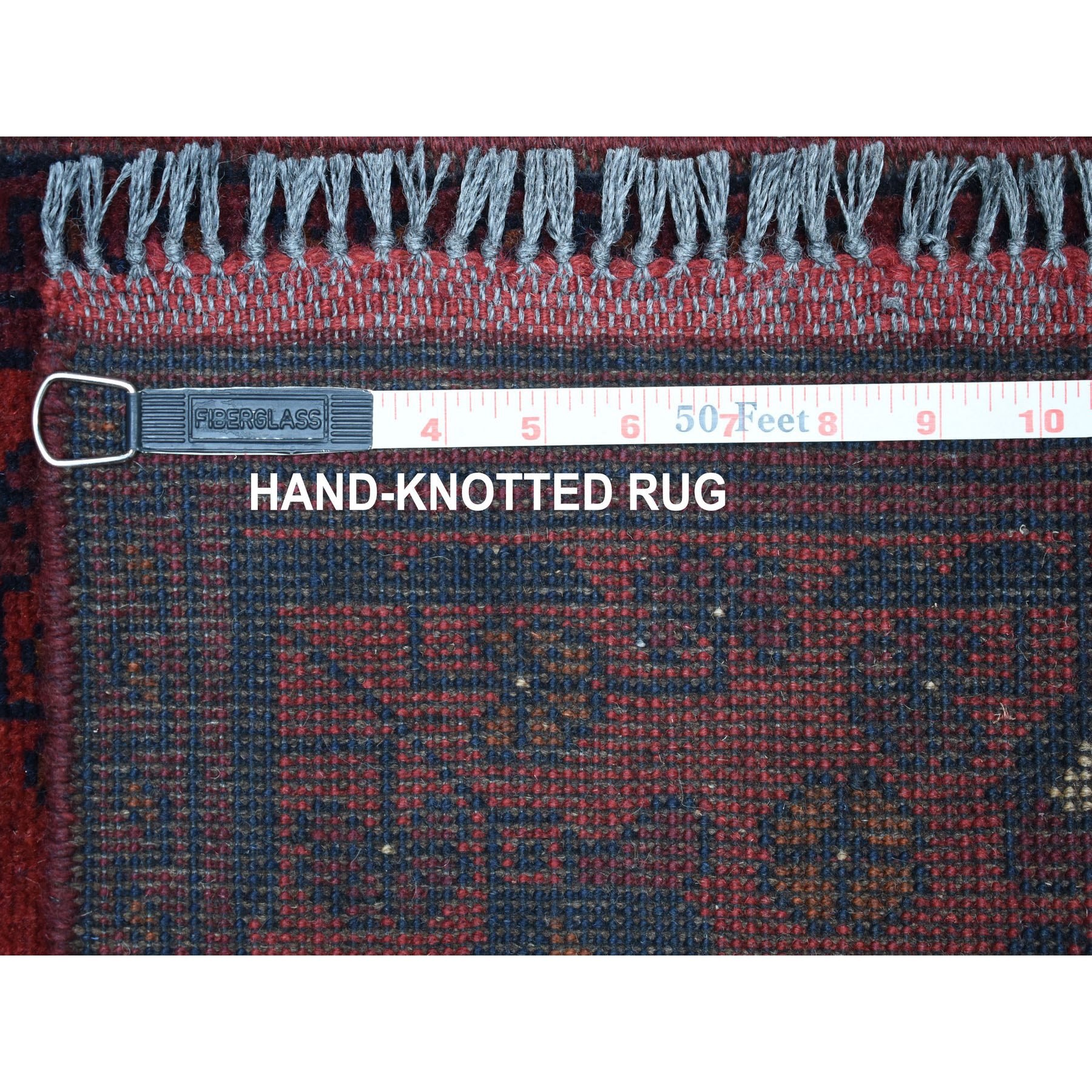 """1'9""""x3'2"""" Deep and Saturated Red Geometric Design Afghan Andkhoy Pure Wool Hand-Knotted Oriental Rug"""