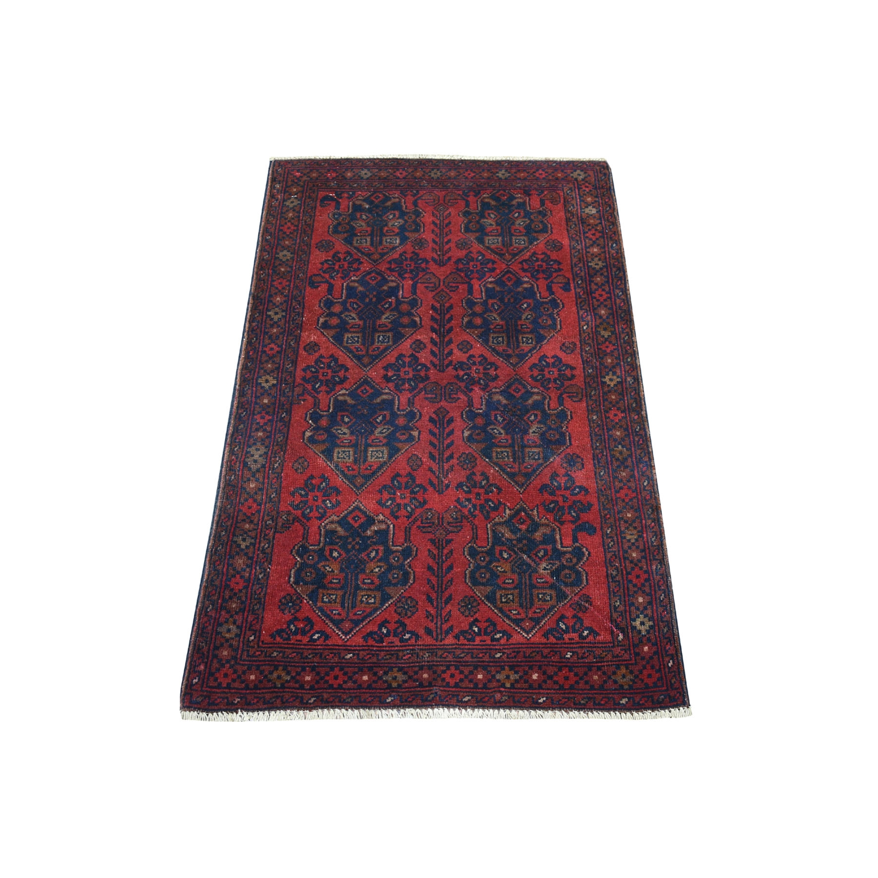 "2'5""X4' Deep And Saturated Red Geometric Design Afghan Andkhoy Pure Wool Hand-Knotted Oriental Rug moaec90a"