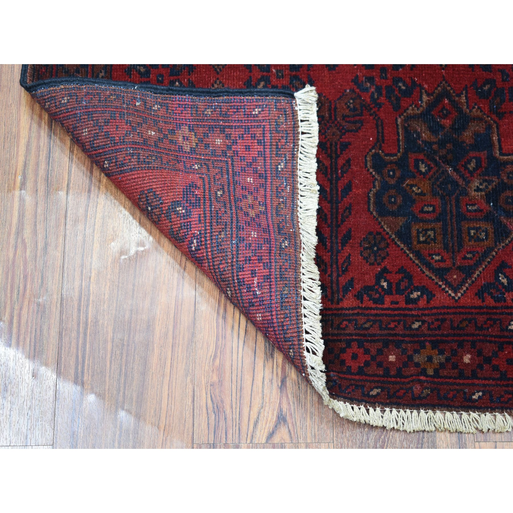 """2'5""""x4' Deep and Saturated Red Geometric Design Afghan Andkhoy Pure Wool Hand-Knotted Oriental Rug"""