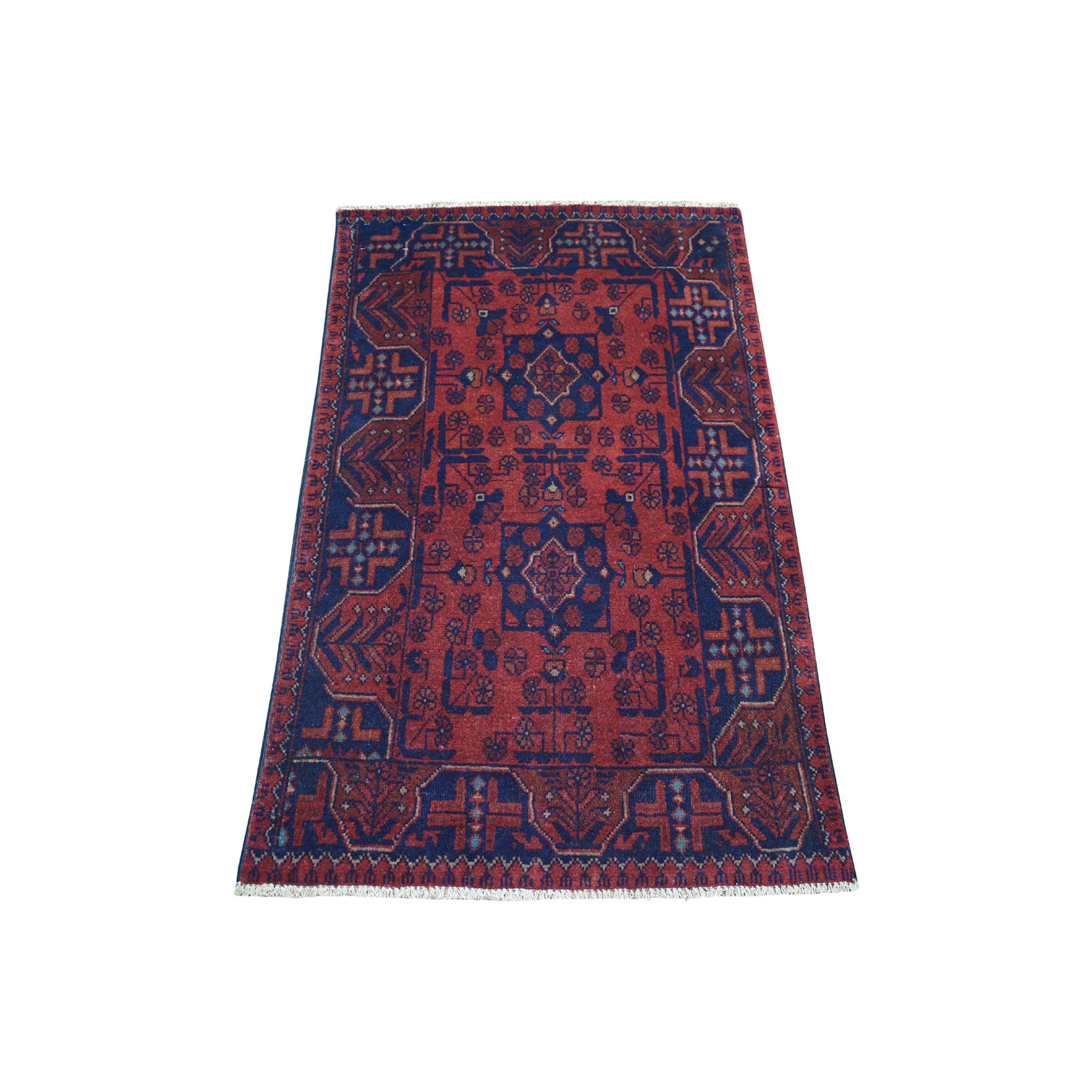 "2'5""X4' Deep And Saturated Red Geometric Design Afghan Andkhoy Pure Wool Hand-Knotted Oriental Rug moaec90b"