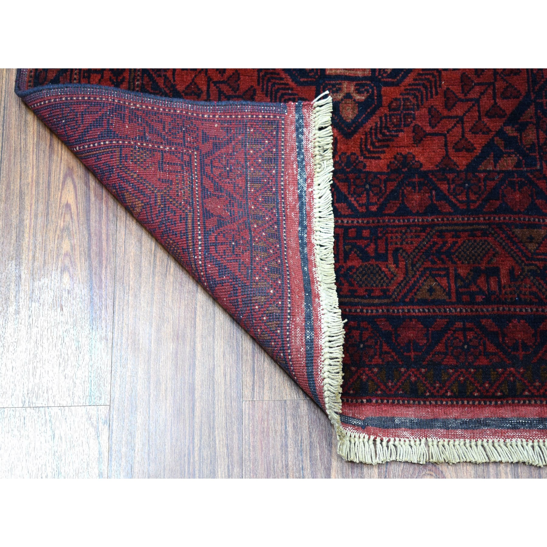 """2'10""""x6'6"""" Deep and Saturated Red Geometric Afghan Andkhoy Runner Pure Wool Hand Knotted Oriental Rug"""