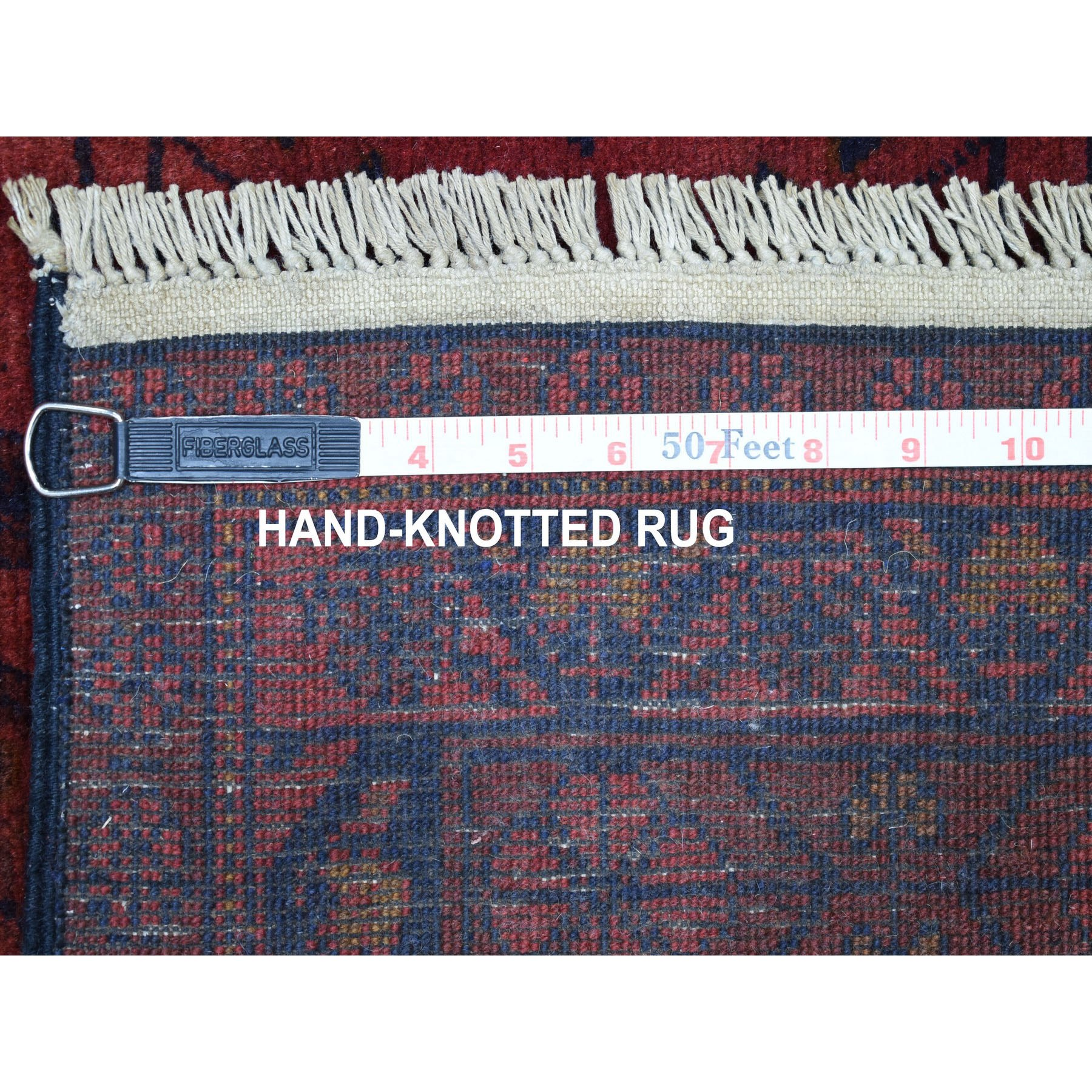 3'x6' Deep and Saturated Red Geometric Afghan Andkhoy Runner Pure Wool Hand Knotted Oriental Rug