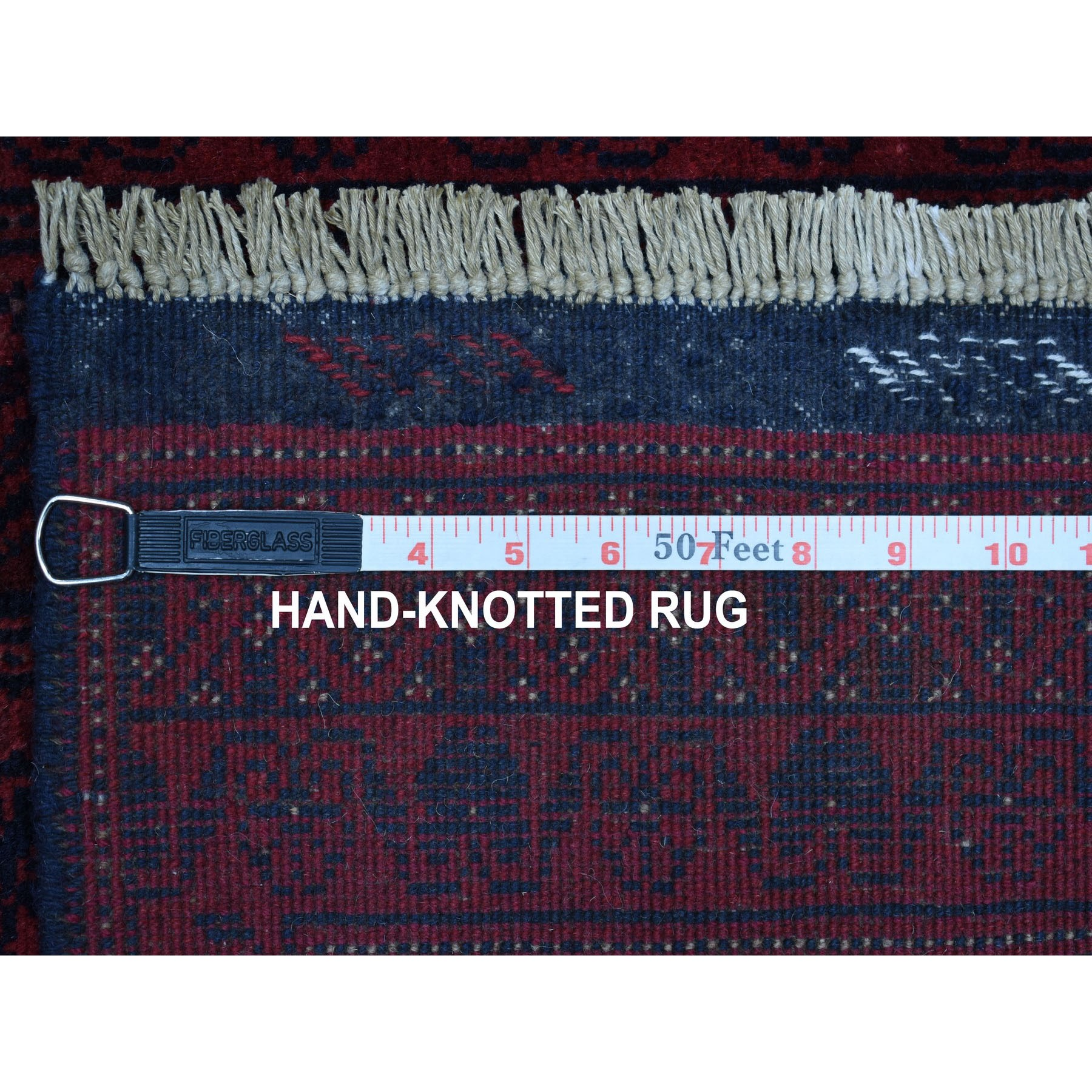 """2'7""""x6'2"""" Deep and Saturated Red Geometric Afghan Andkhoy Runner Pure Wool Hand Knotted Oriental Rug"""