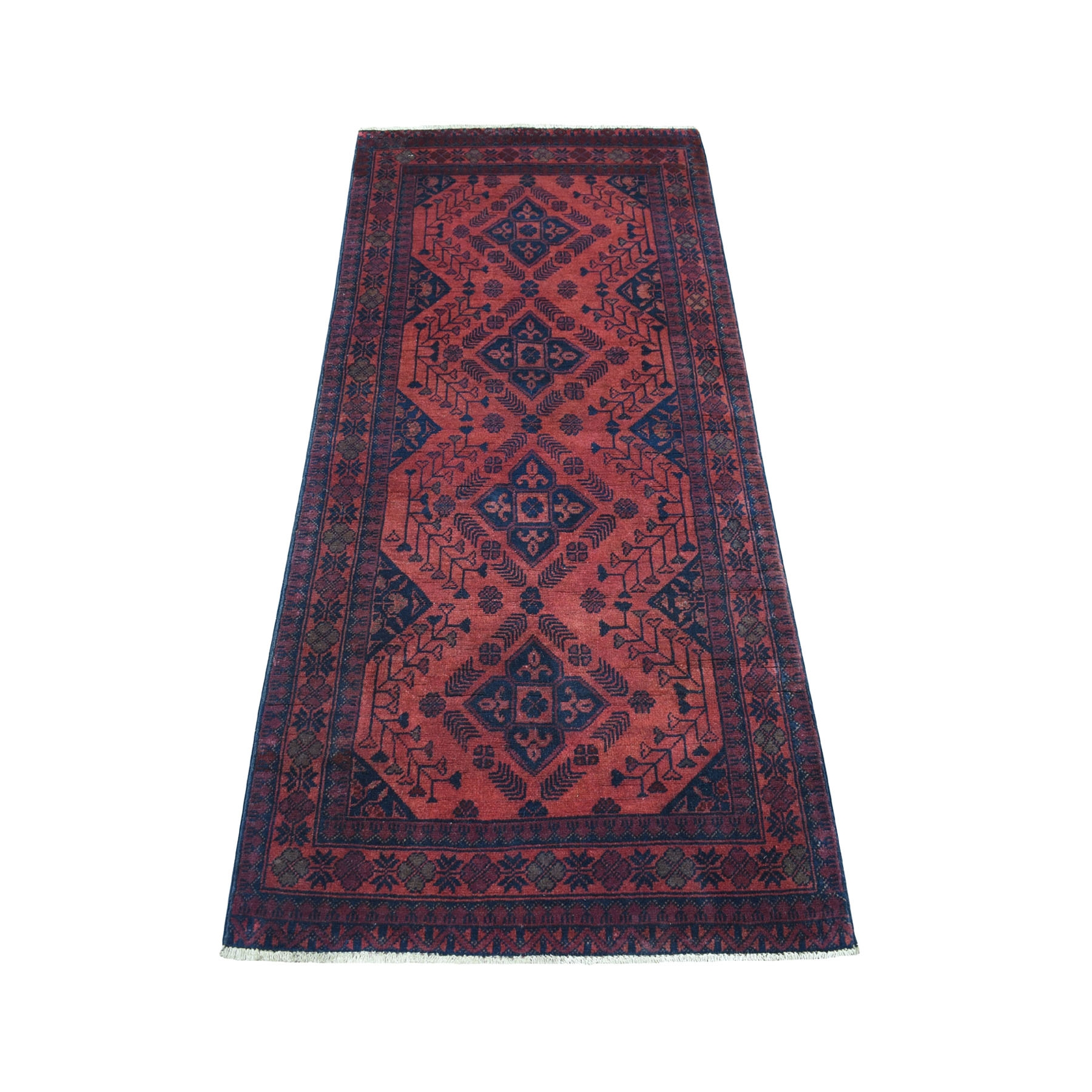 "2'7""x6'1"" Deep and Saturated Red Geometric Afghan Andkhoy Runner Pure Wool Hand Knotted Oriental Rug 53908"