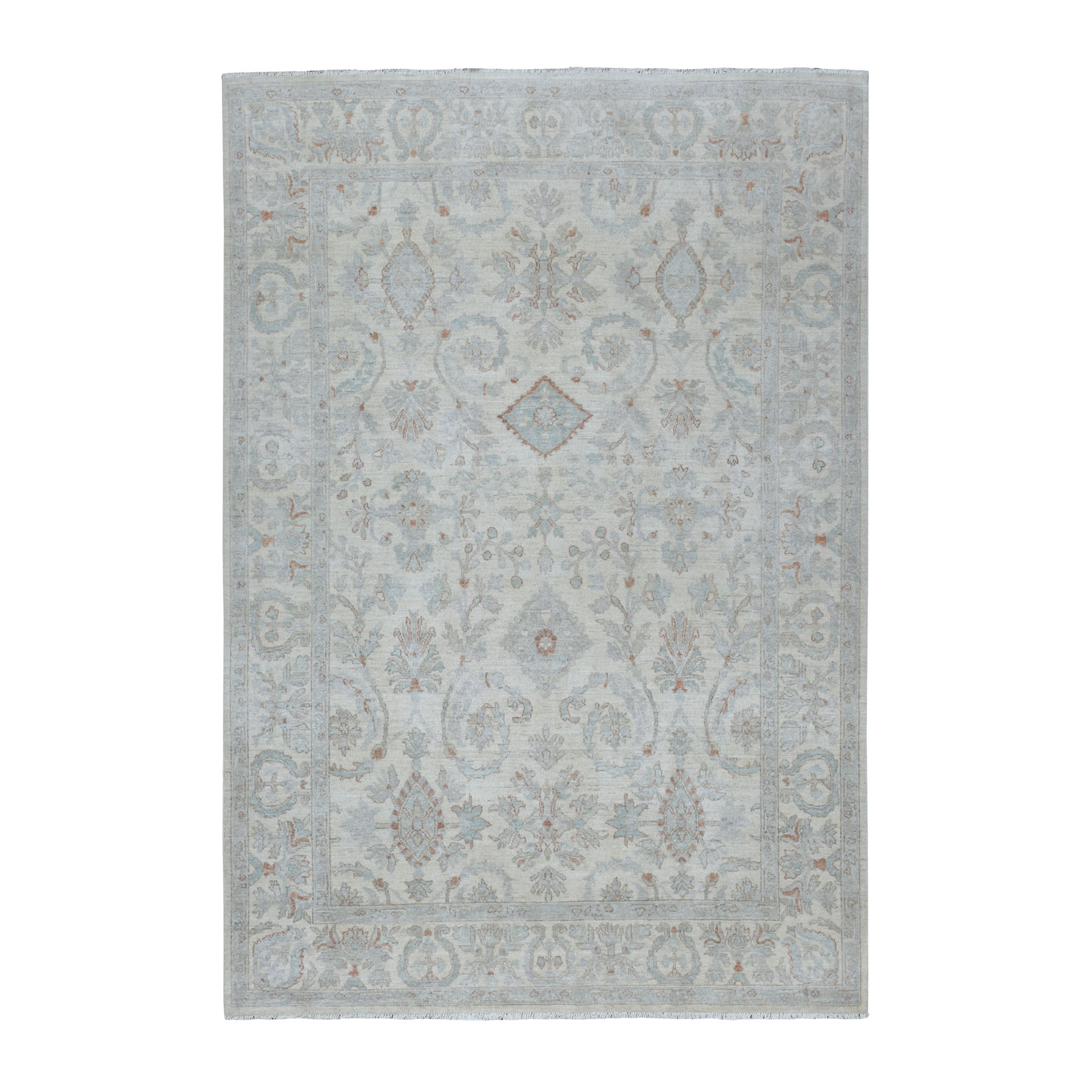 """6'X8'10"""" White Wash Peshawar Pure Wool Hand Knotted Oriental Rug moaec9a0"""