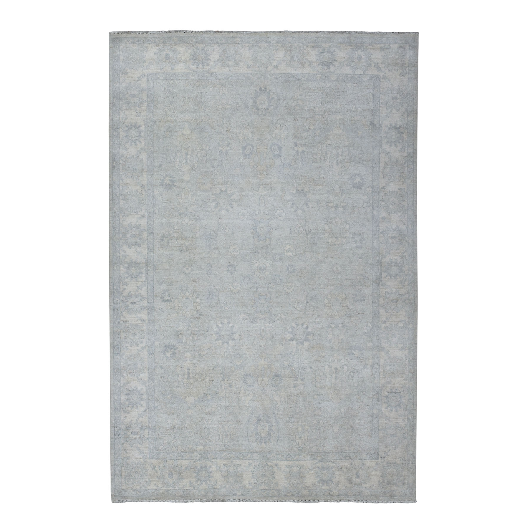 """6'X8'9"""" White Wash Peshawar Pure Wool Hand Knotted Oriental Rug moaec9aa"""