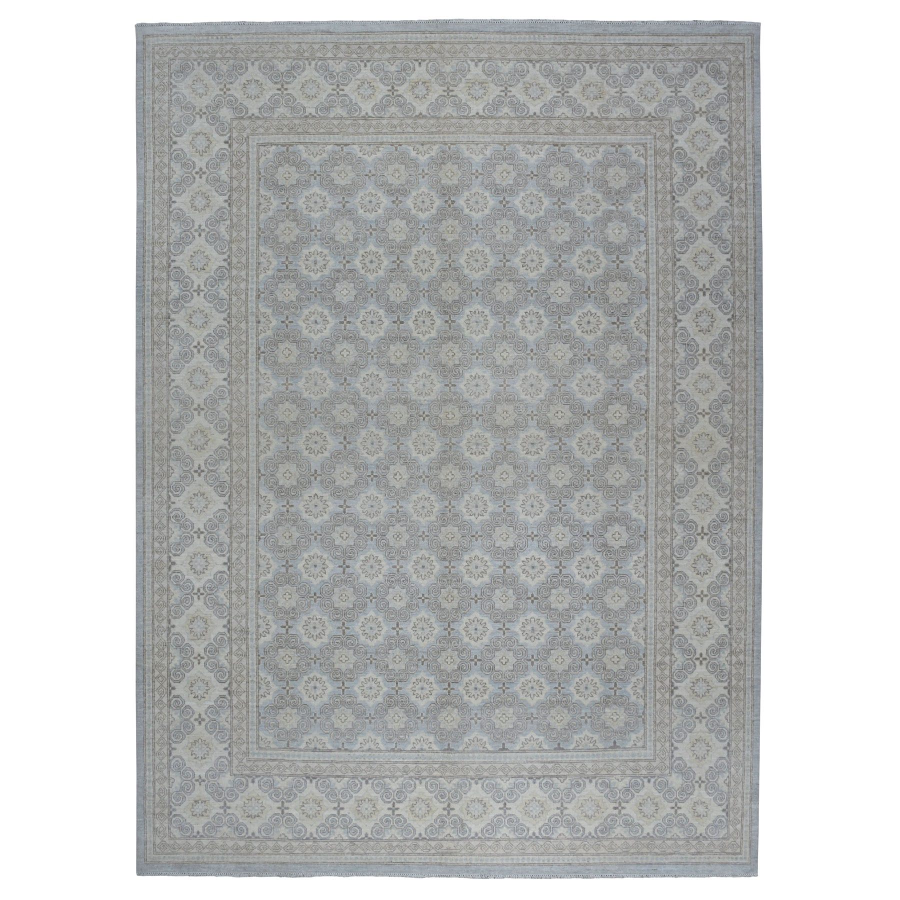 "9'x11'10"" White Wash Peshawar Khotan Repetitive Design Pure Wool Hand Knotted Oriental Rug"