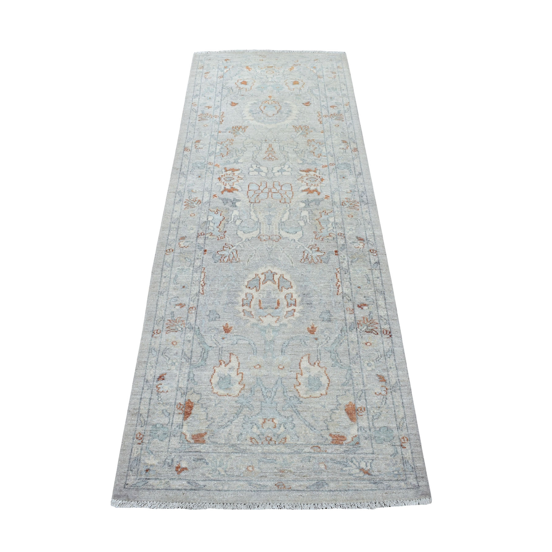 """2'7""""X7'6""""  White Wash Peshawar Pure Wool Hand Knotted Runner Oriental Rug moaec9a8"""