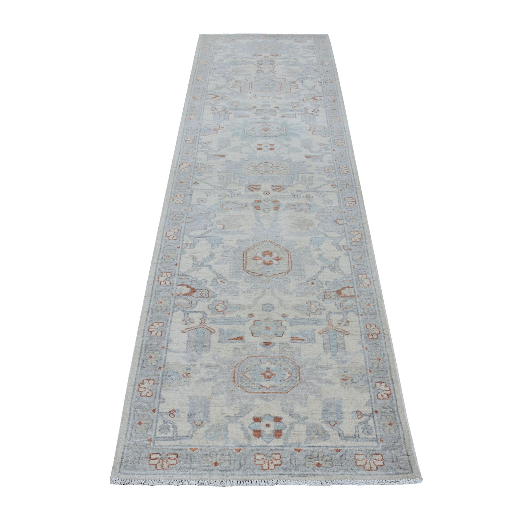 """2'8""""X9'9"""" White Wash Peshawar Pure Wool Hand Knotted Runner Orientals Rug moaec9a9"""