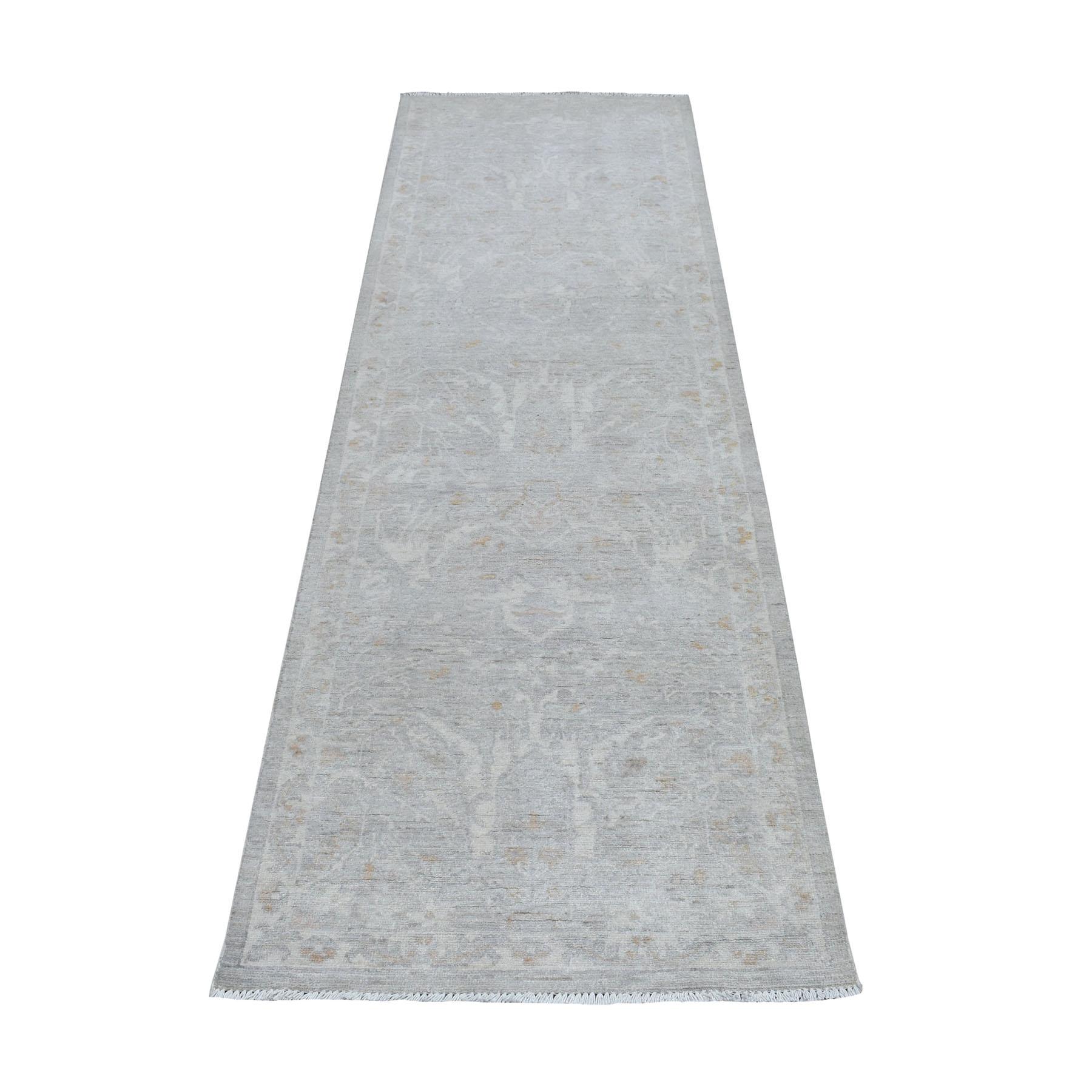 "2'7""X8'2"" White Wash Peshawar Pure Wool Hand Knotted Runner Oriental Rug moaec9bb"