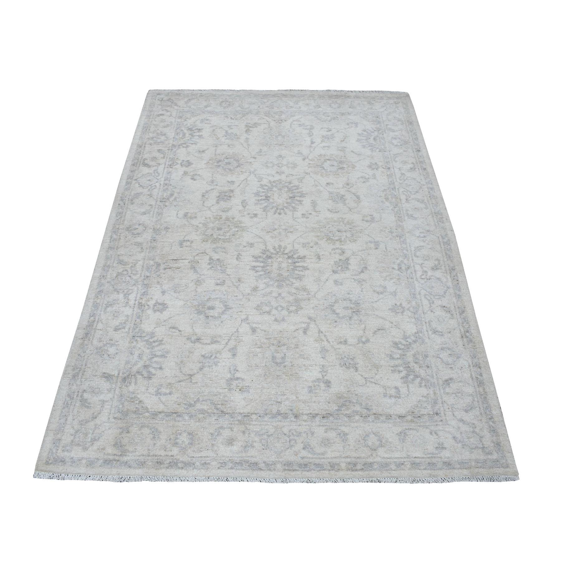 "4'2""X6' White Wash Peshawar Mahal Design Pure Wool Hand Knotted Oriental Rug moaec9b7"