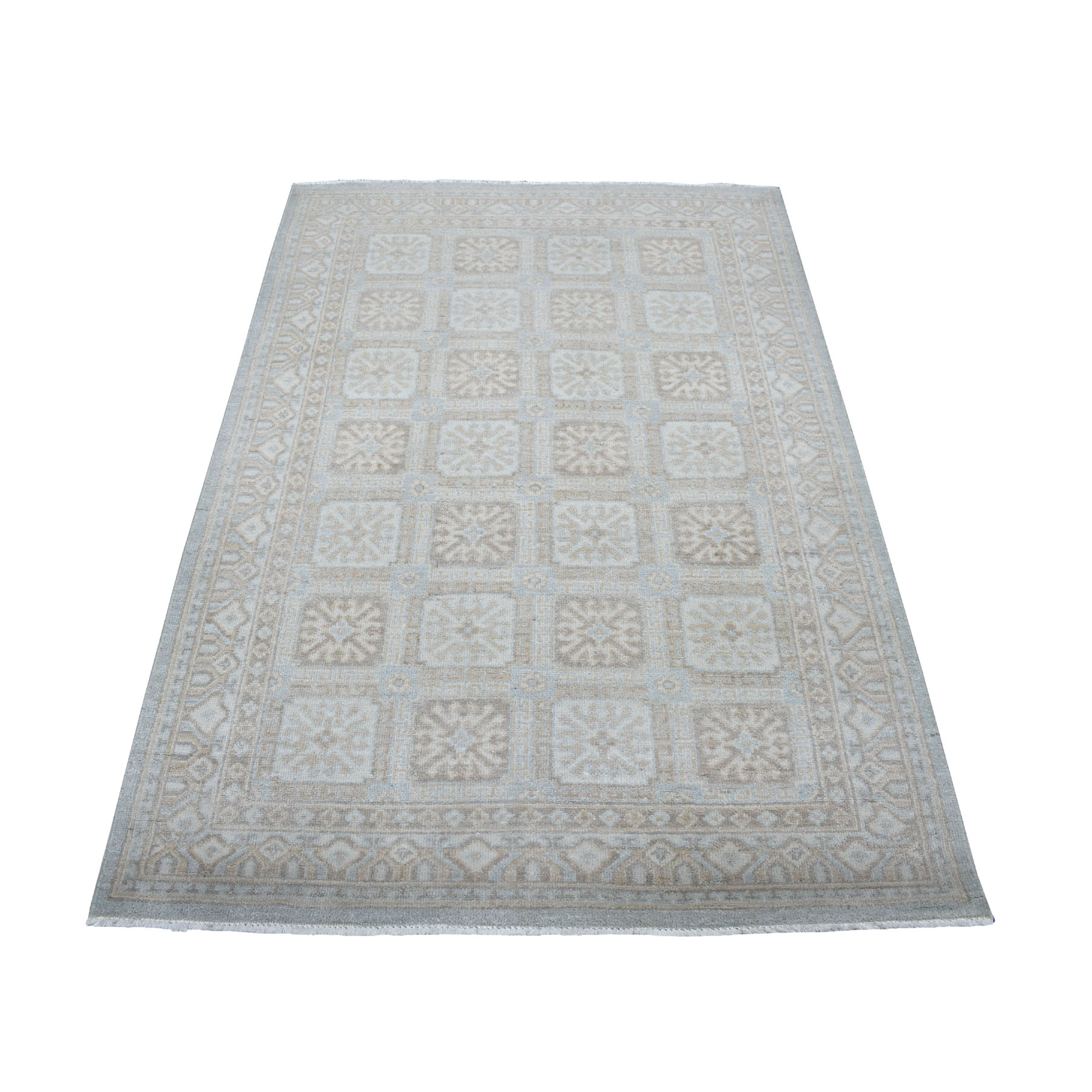 "4'1""X6'1"" White Wash Peshawar Mahal Design Pure Wool Hand Knotted Oriental Rug moaec9b8"