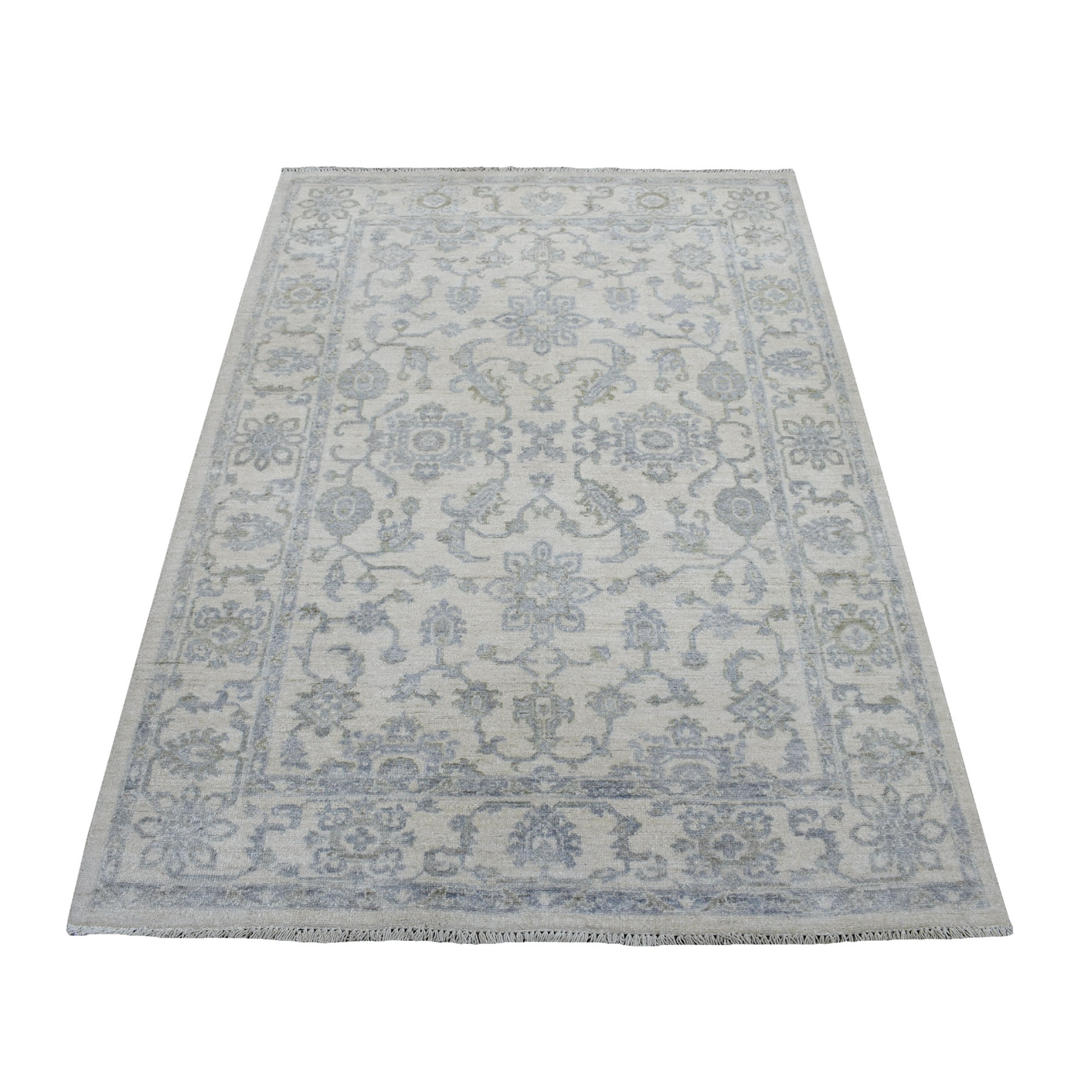 "4'X5'9"" White Wash Peshawar Mahal Design Pure Wool Hand Knotted Oriental Rug moaec9c0"