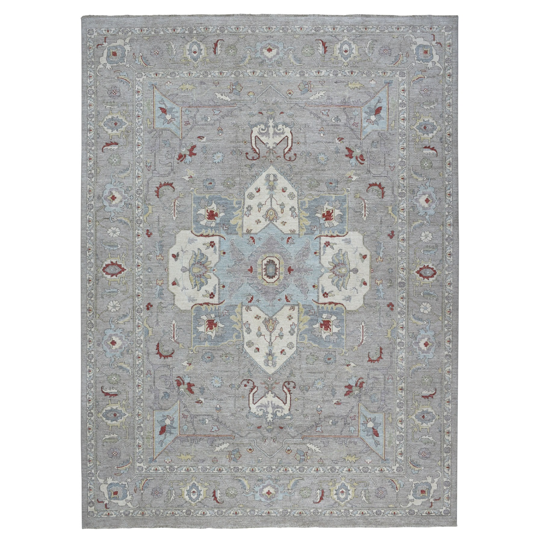 "9'x11'8"" Gray Peshawar With Heriz Design Pop OF Color Hand Knotted Oriental Rug"