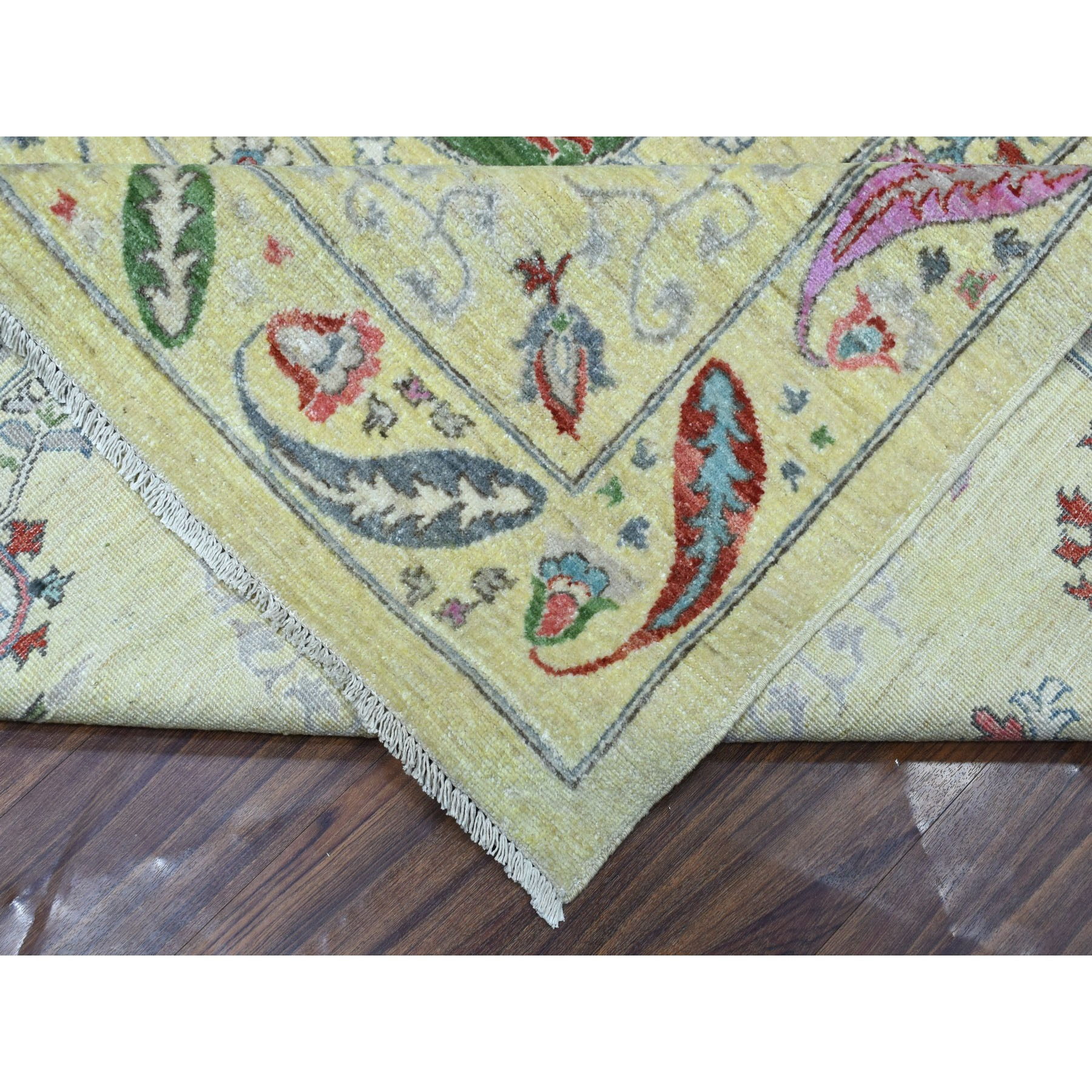 "9'x11'10"" Yellow Peshawar With Suzani Uzbek Design Hand Knotted Oriental Rug"