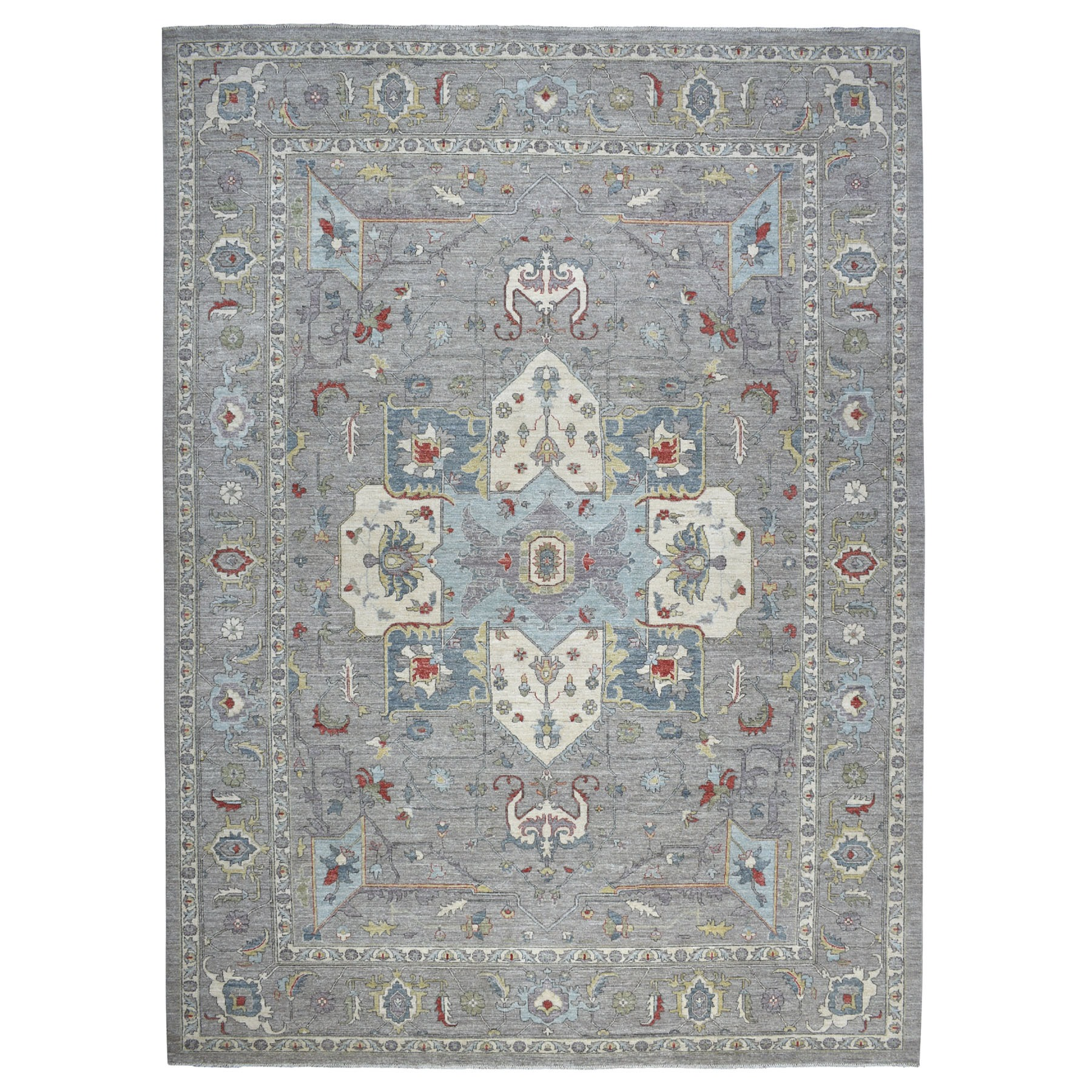 "10'1""x13'10"" Gray Peshawar With Heriz Design Pop OF Color Hand Knotted Oriental Rug"
