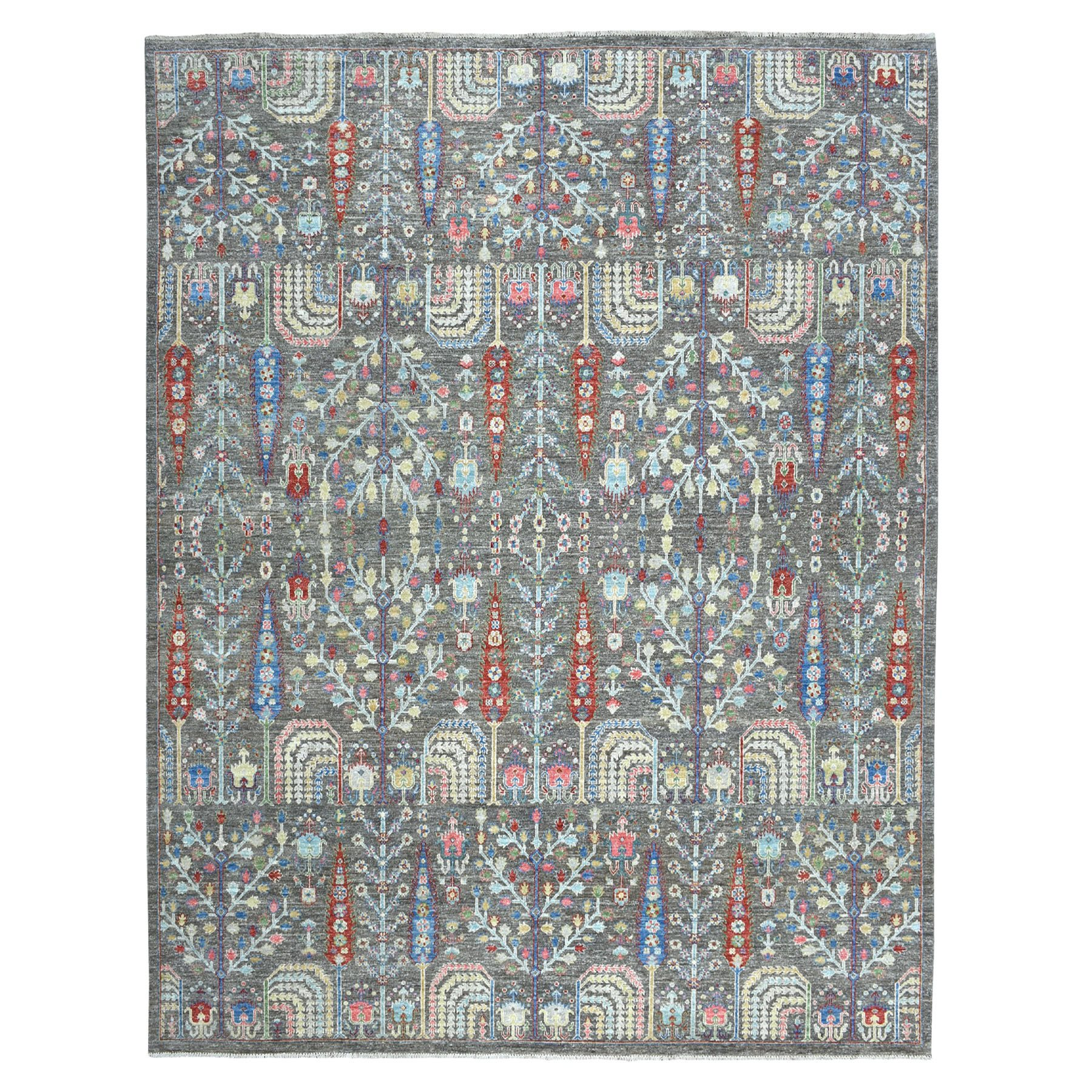 "9'1""x11'2"" Gray With Pop Of Color Willow And Cypress Tree Design Hand Knotted Oriental Rug"
