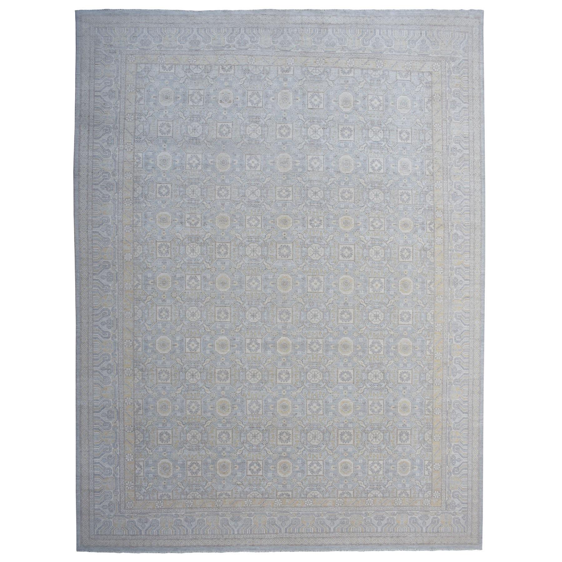 "13'2""x17'6"" Oversized Khotan Design Peshawar Silver Wash Hand Knotted Oriental Rug"