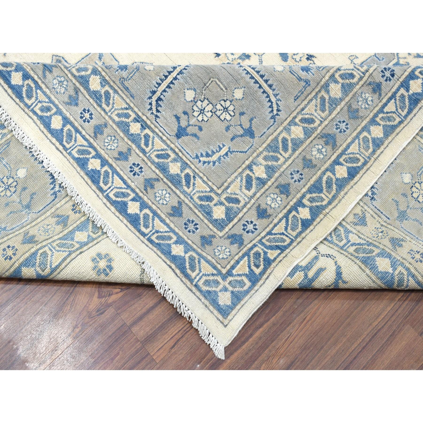 "12'1""x14'5"" Oversized Ivory Vintage Look Kazak Pure Wool Hand Knotted Oriental Rug"