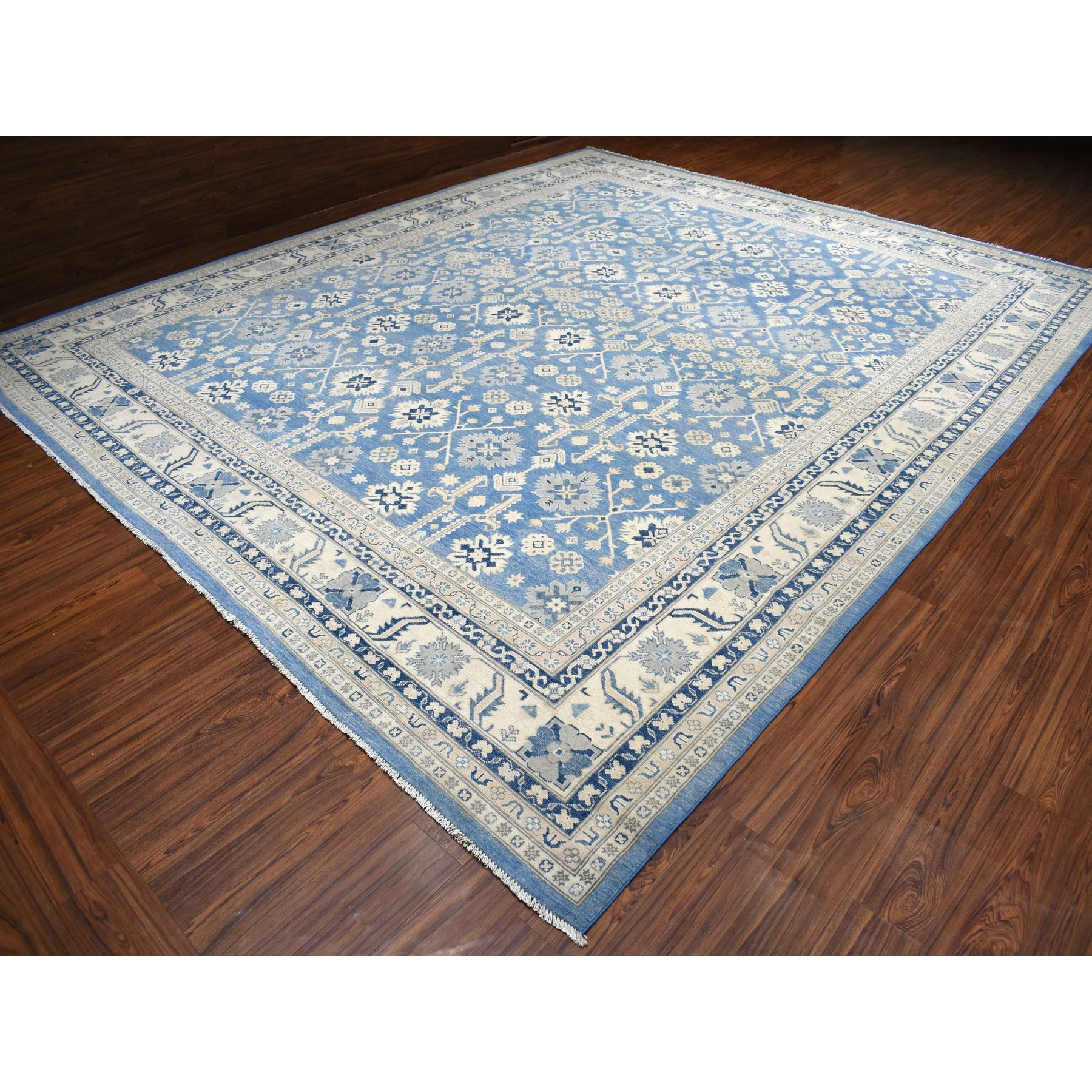 "12'2""x14'3"" Oversized Blue Vintage Look Kazak Geometric Design Pure Wool Hand Knotted Oriental Rug"