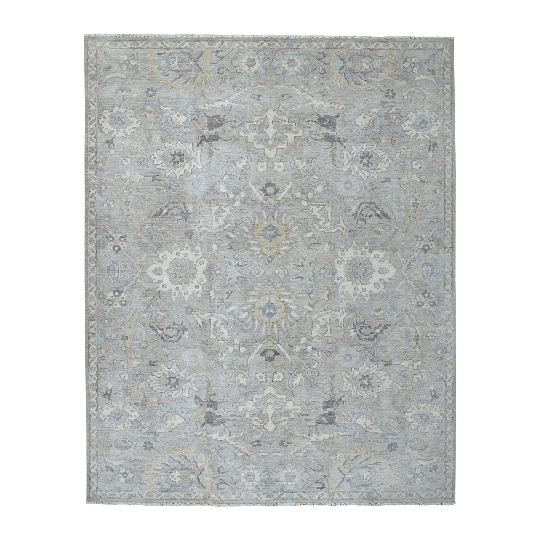 "7'10""x9'10"" White Wash Peshawar Pure Wool Hand Knotted Oriental Rug"