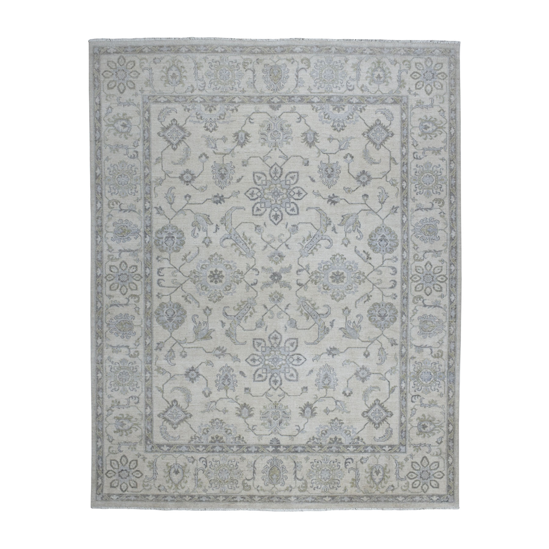 "7'10""x9'8"" White Wash Peshawar Pure Wool Hand Knotted Oriental Rug"