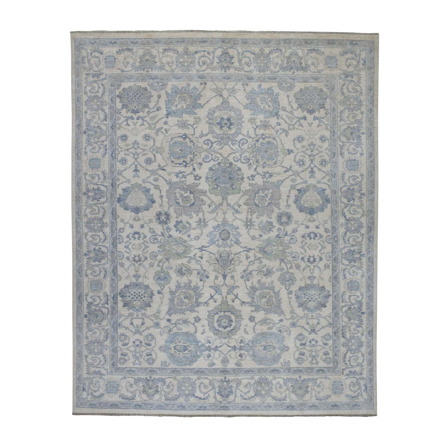 "8'x9'8"" White Wash Peshawar Pure Wool Hand Knotted Oriental Rug"