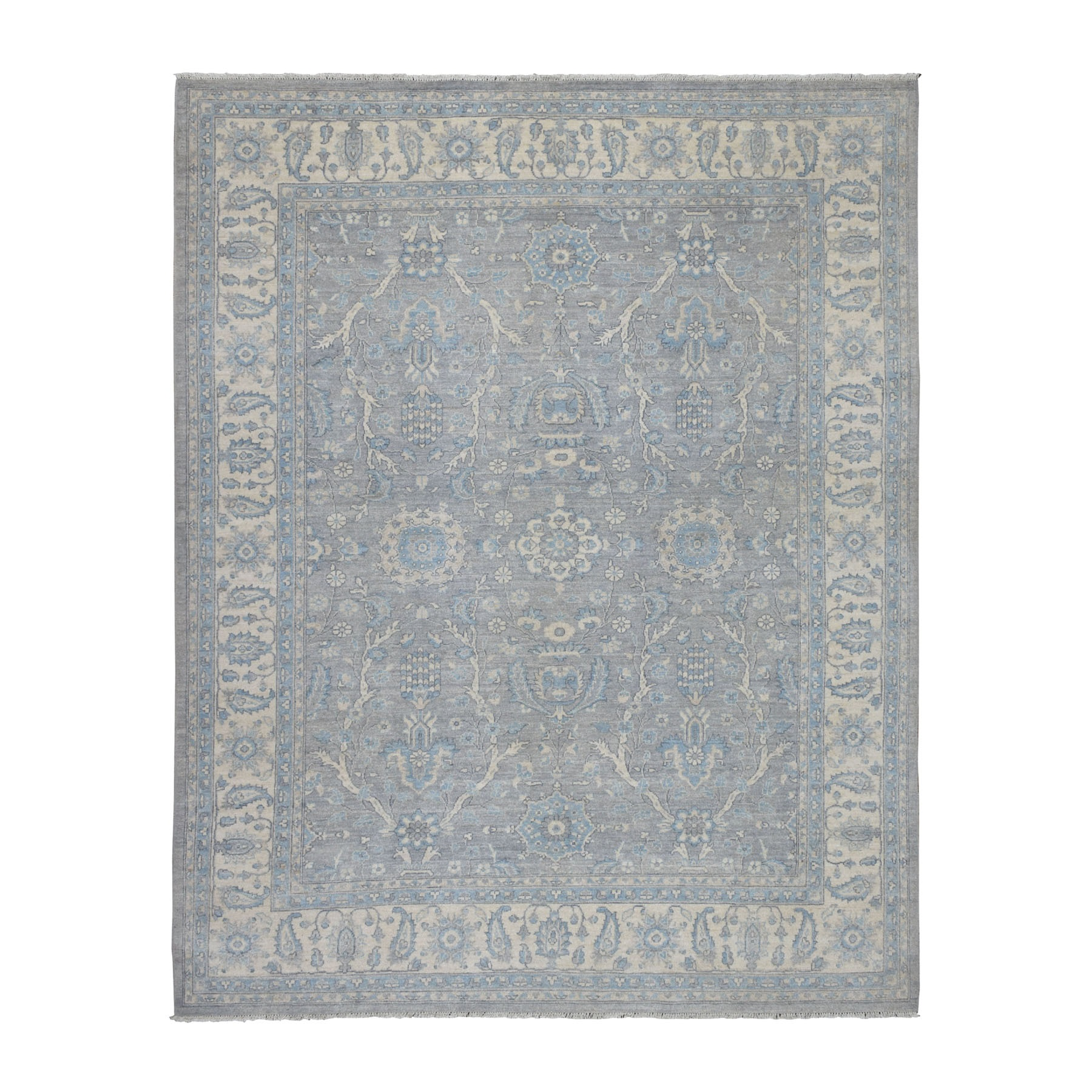 "7'10""X10' White Wash Peshawar Pure Wool Hand Knotted Oriental Rug moaec9d7"
