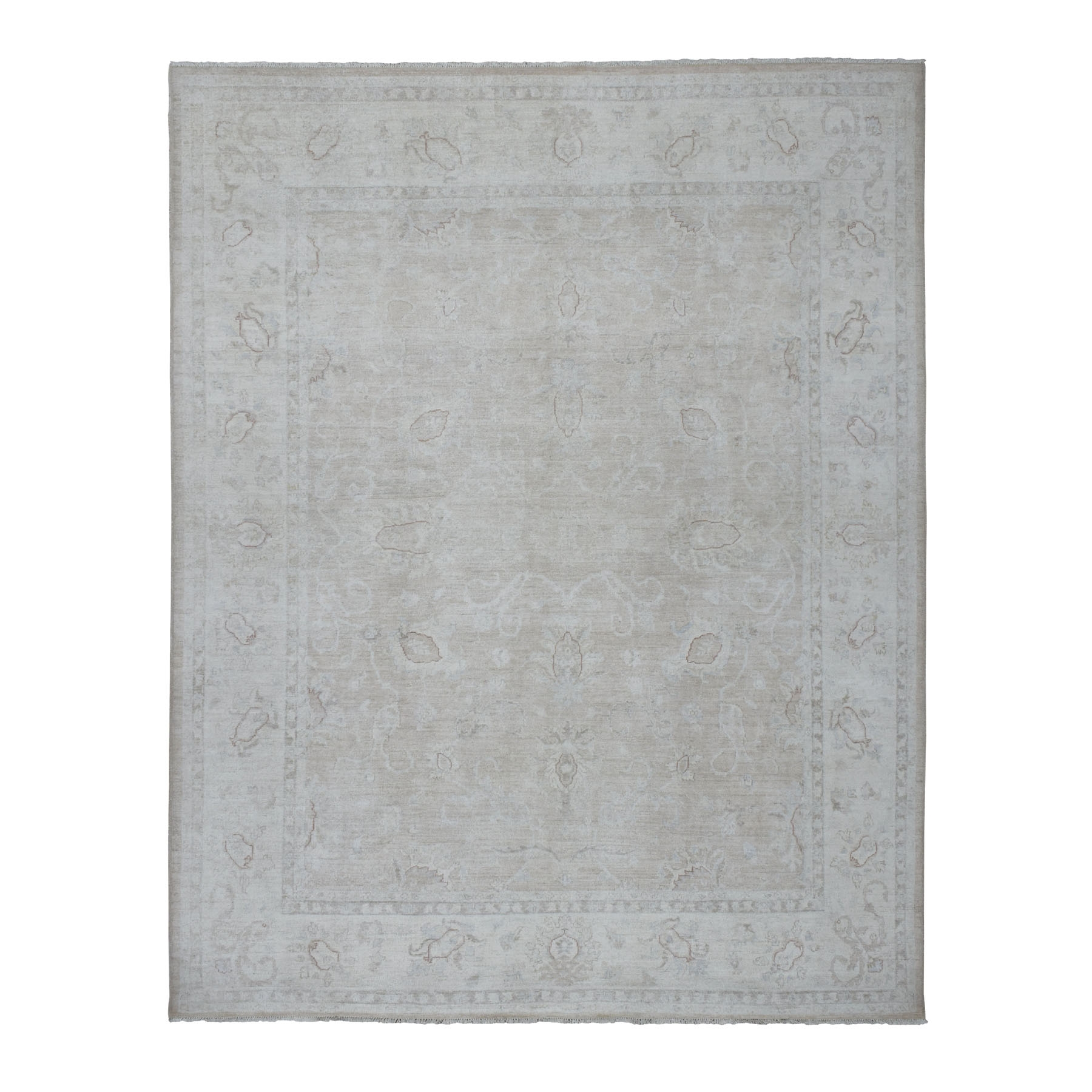 "8'X9'7"" White Wash Peshawar Pure Wool Hand Knotted Oriental Rug moaec9d9"