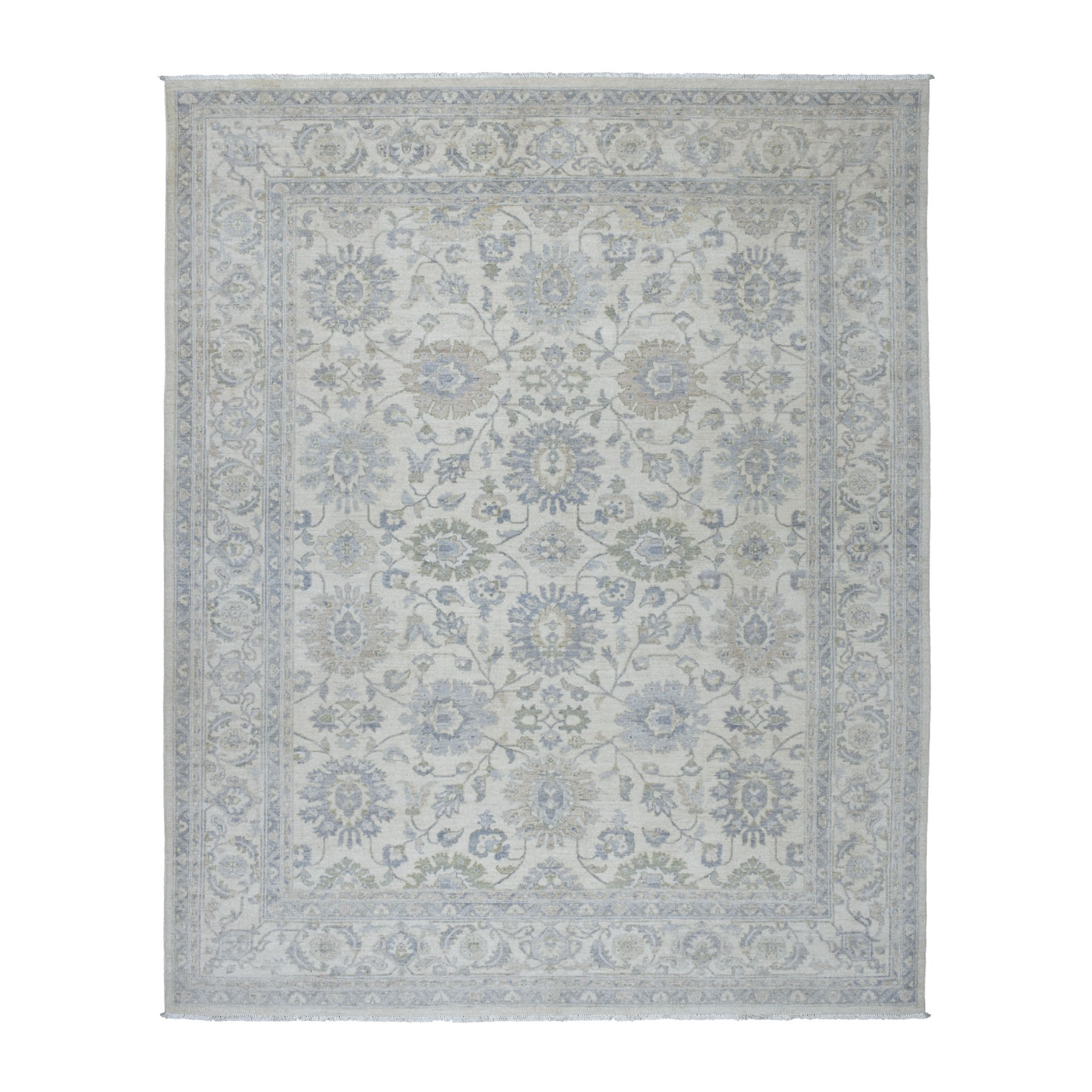 "8'1""X9'10"" White Wash Peshawar Pure Wool Hand Knotted Oriental Rug moaec9e0"