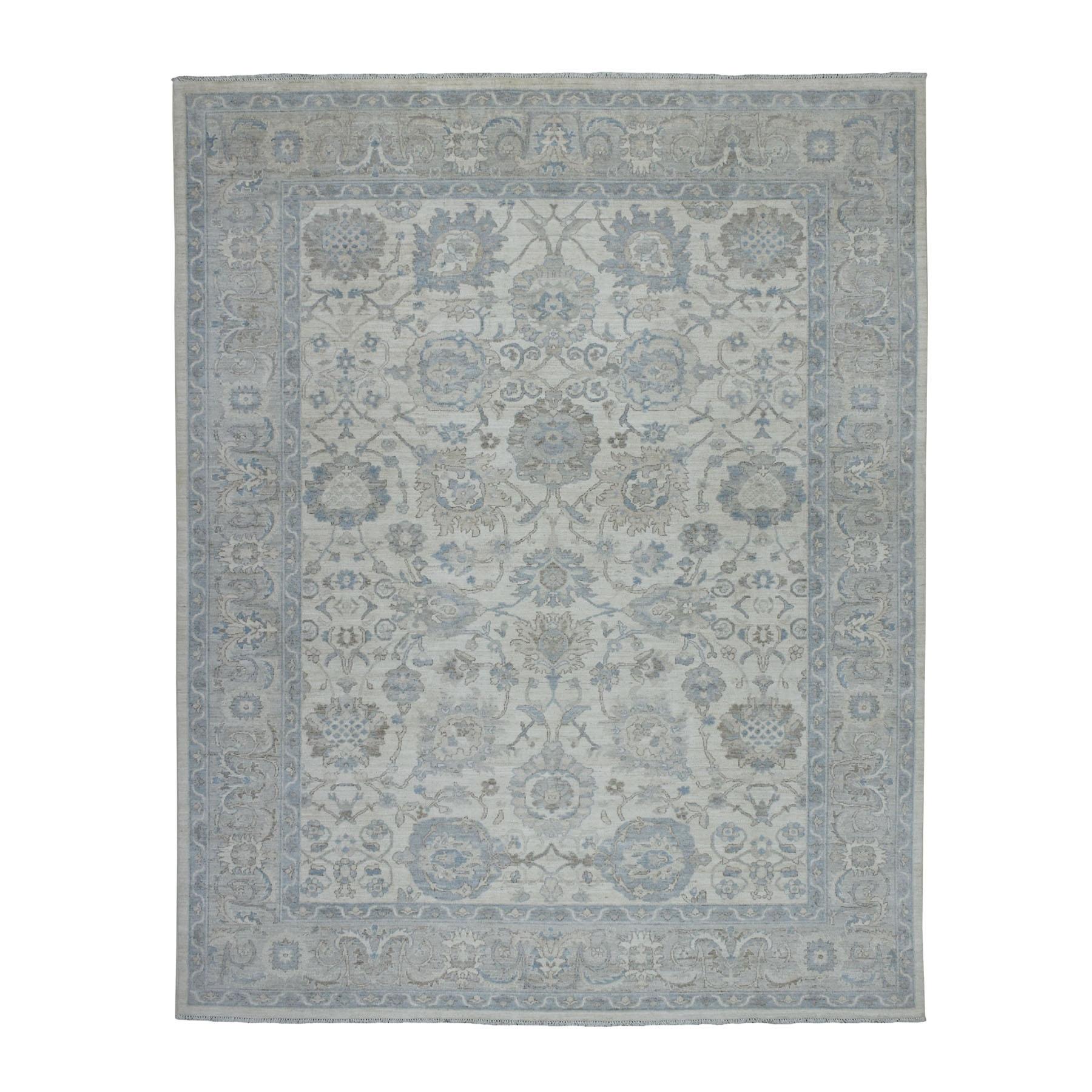 "7'10""x10'  White Wash Peshawar Ziegler Mahal Design Hand Knotted Oriental Rug"
