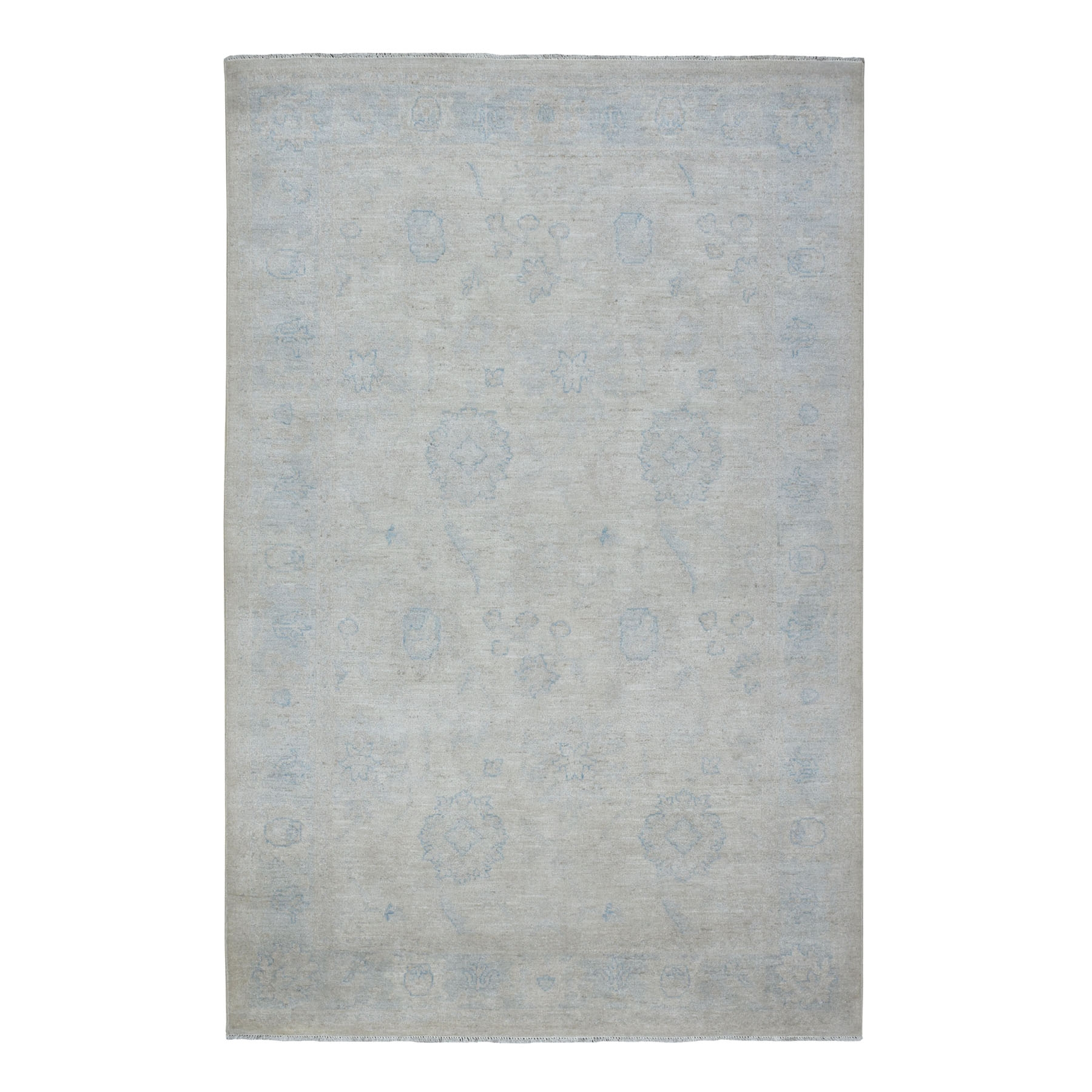"""5'10""""X9'1"""" White Wash Peshawar Pure Wool Hand Knotted Oriental Rug moaec9e6"""