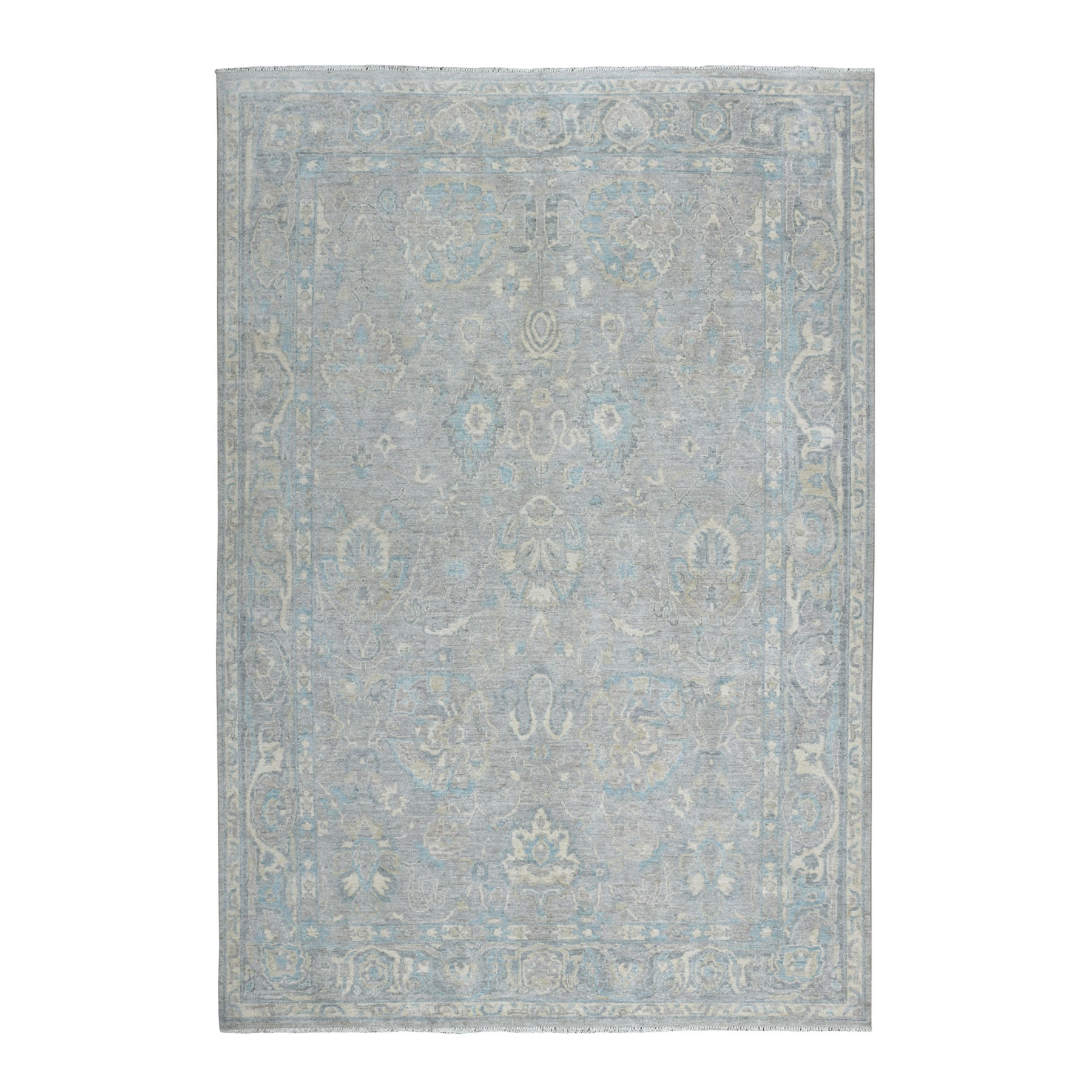 """6'X8'9"""" White Wash Peshawar Mahal Design Pure Wool Hand Knotted Oriental Rug moaec96a"""