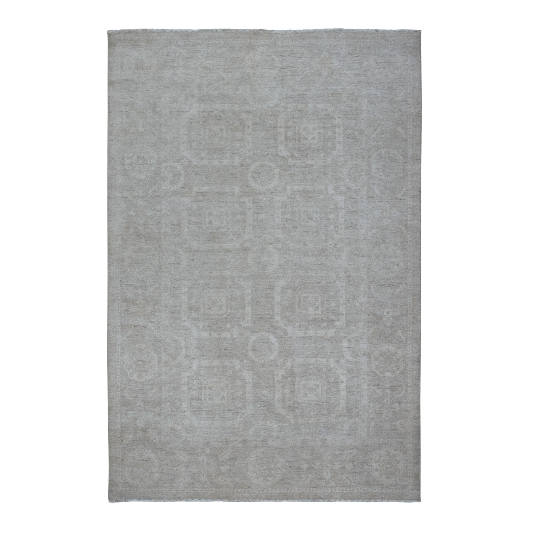 "6'x8'8"" White Wash Peshawar Pure Wool Hand Knotted Oriental Rug"