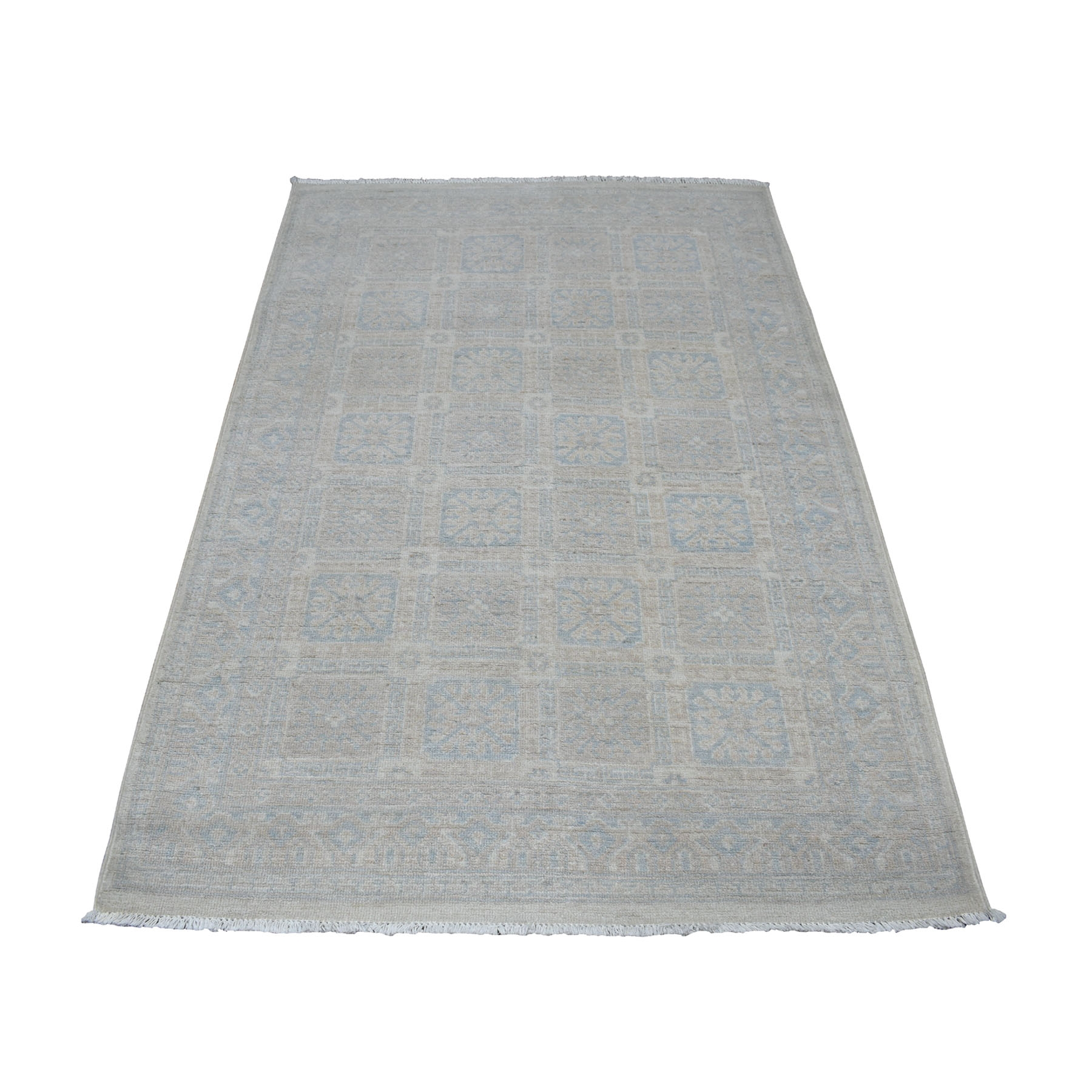 "4'X6'2"" Samarkand With Khotan Repetitive Rossets Design Hand Knotted Oriental Rug  moaec96e"