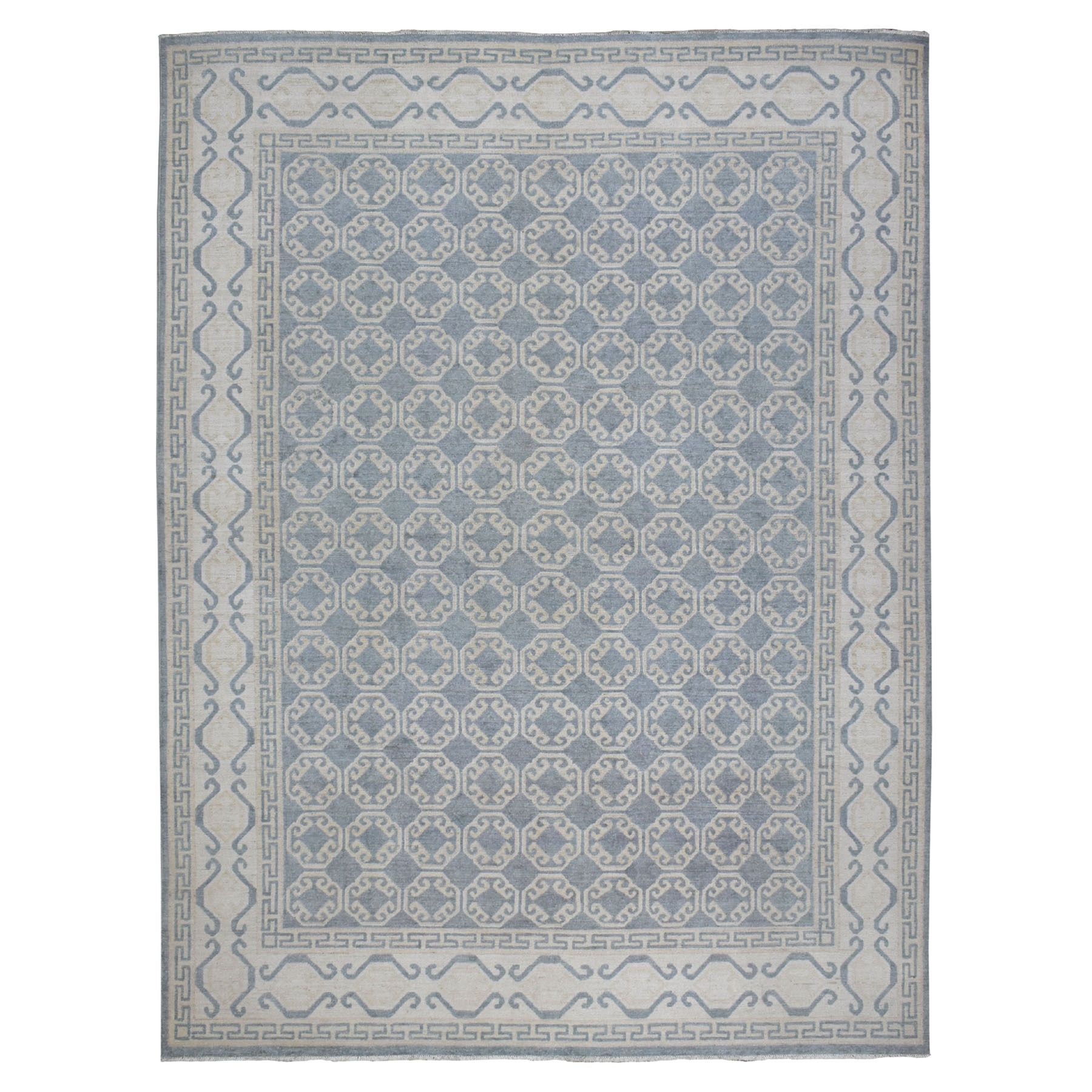 "8'9""x11'1"" White Wash Peshawar Khotan Design Pure Wool Hand Knotted Oriental Rug"