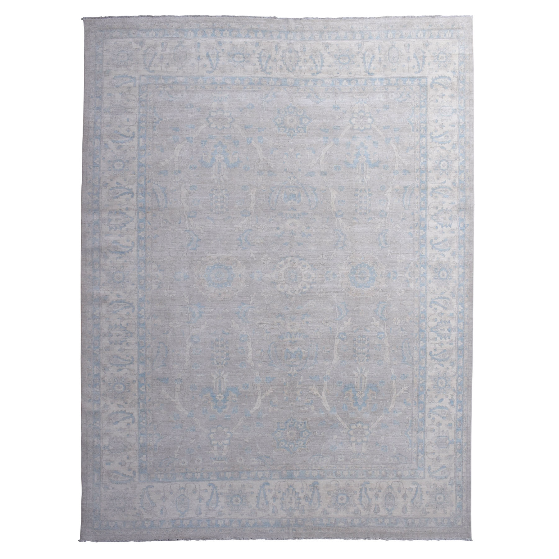 "11'9""x14'5"" Oversized White Wash Peshawar Pure Wool Hand Knotted Oriental Rug"